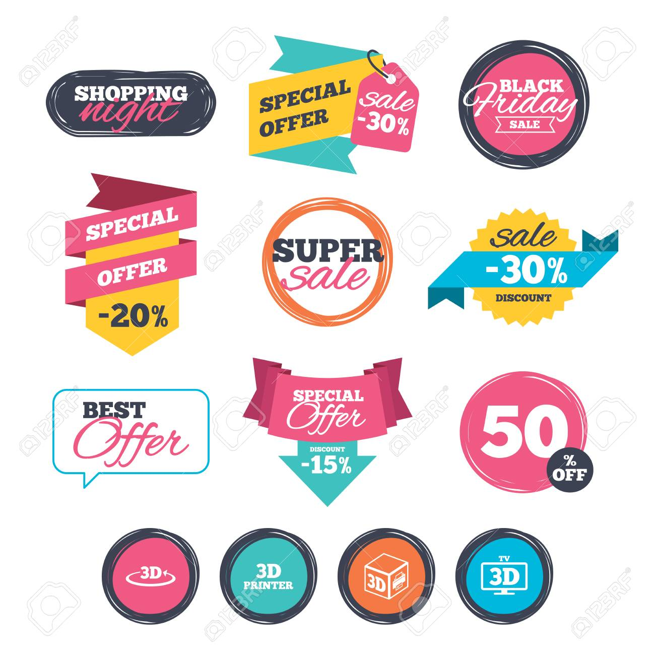 Sale stickers online shopping 3d technology icons printer rotation arrow sign symbols