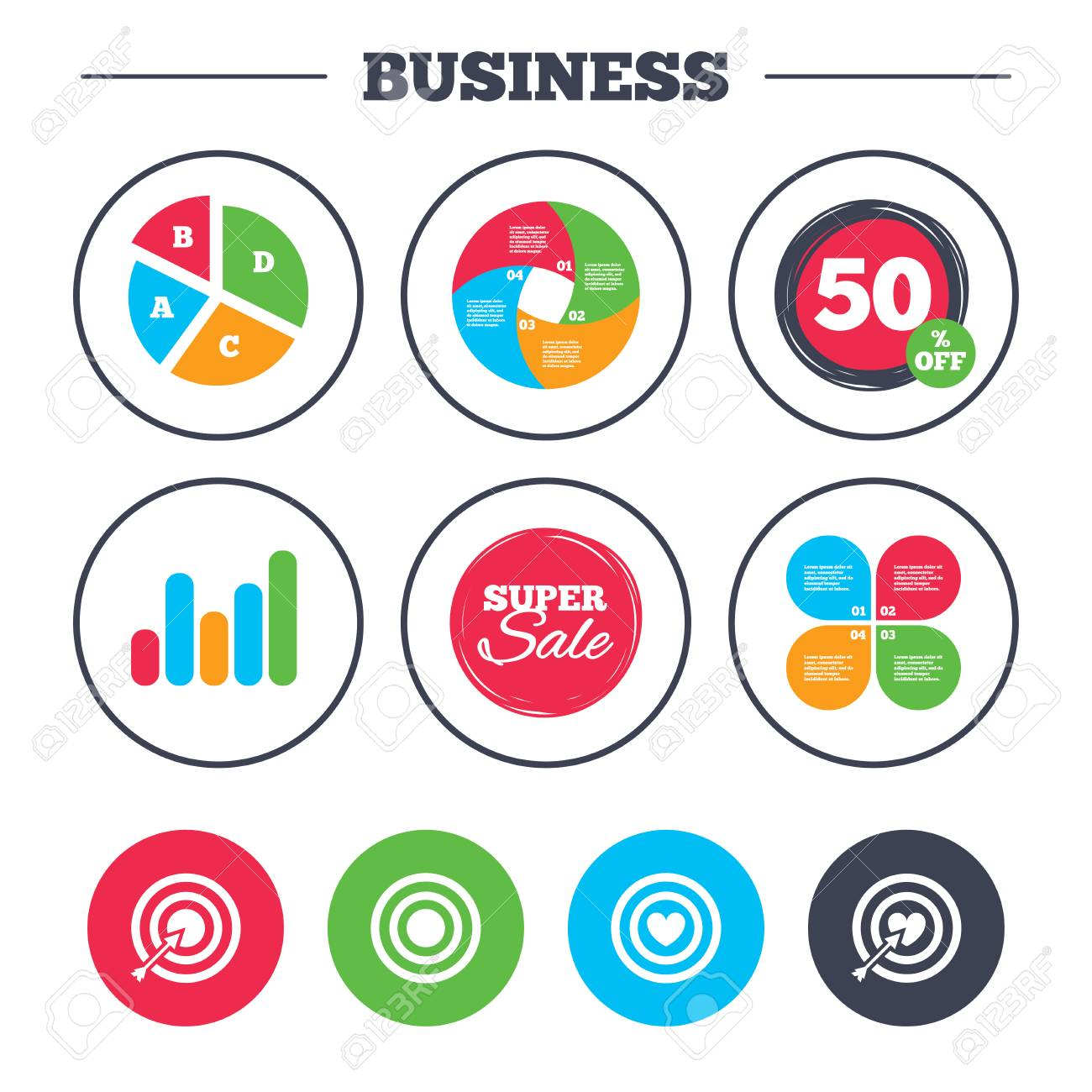 Business pie chart growth graph target aim icons darts board business pie chart growth graph target aim icons darts board with heart and geenschuldenfo Images