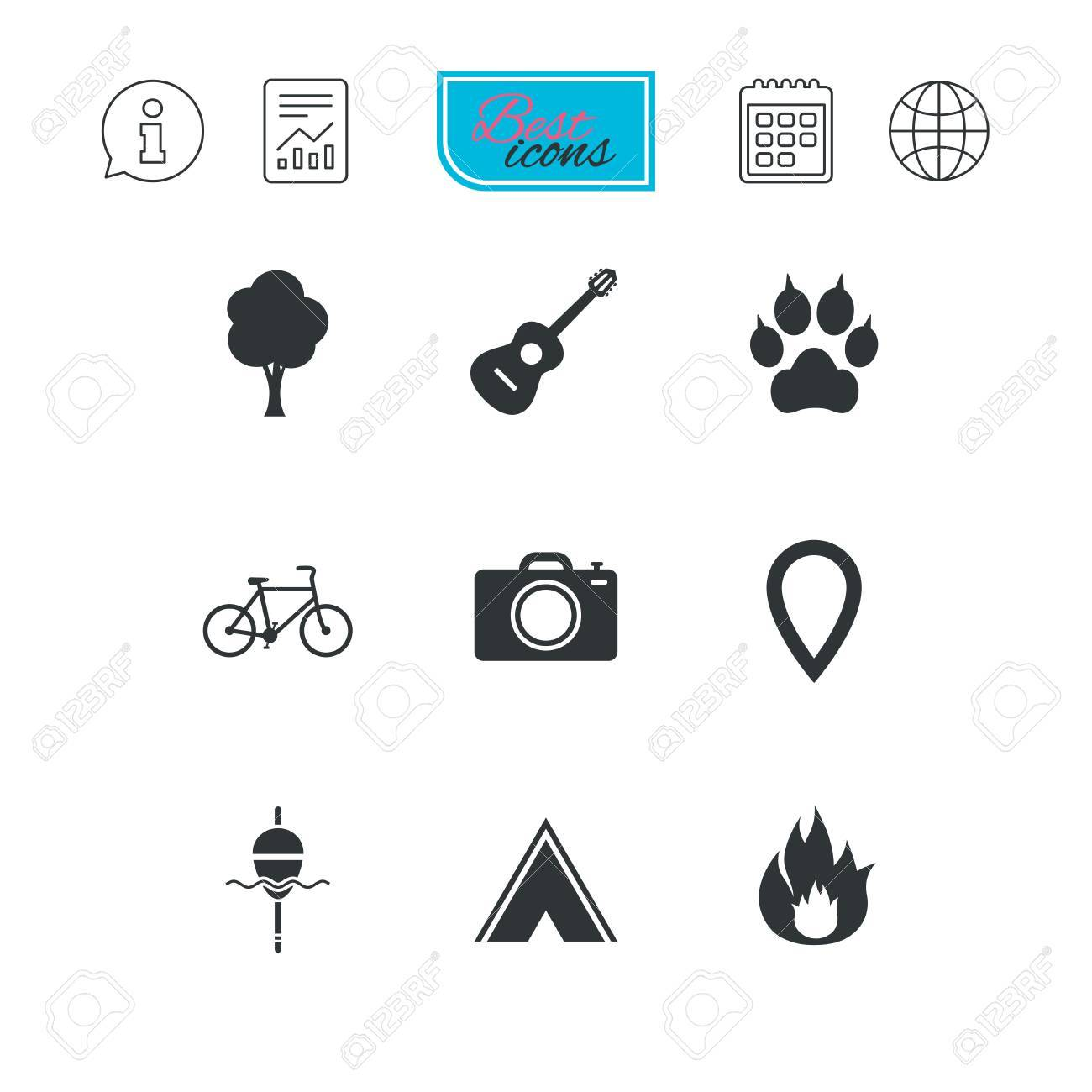 Tourism, Camping Icons. Fishing, Fire And Bike Signs. Guitar Music ...