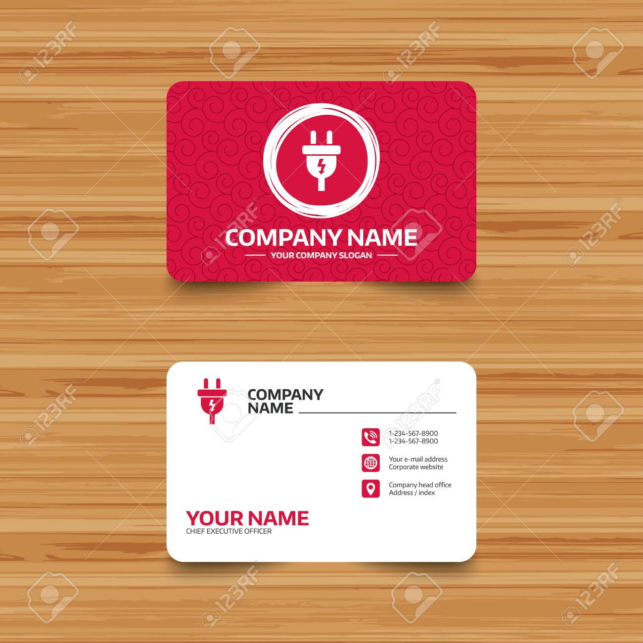 Business card template with texture electric plug sign icon business card template with texture electric plug sign icon power energy symbol lightning colourmoves