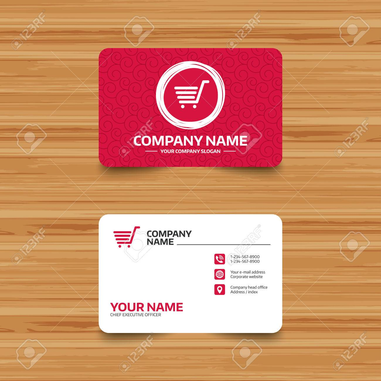 Business Card Template With Texture Shopping Cart Sign Icon Royalty Free Cliparts Vectors And Stock Illustration Image 70095158