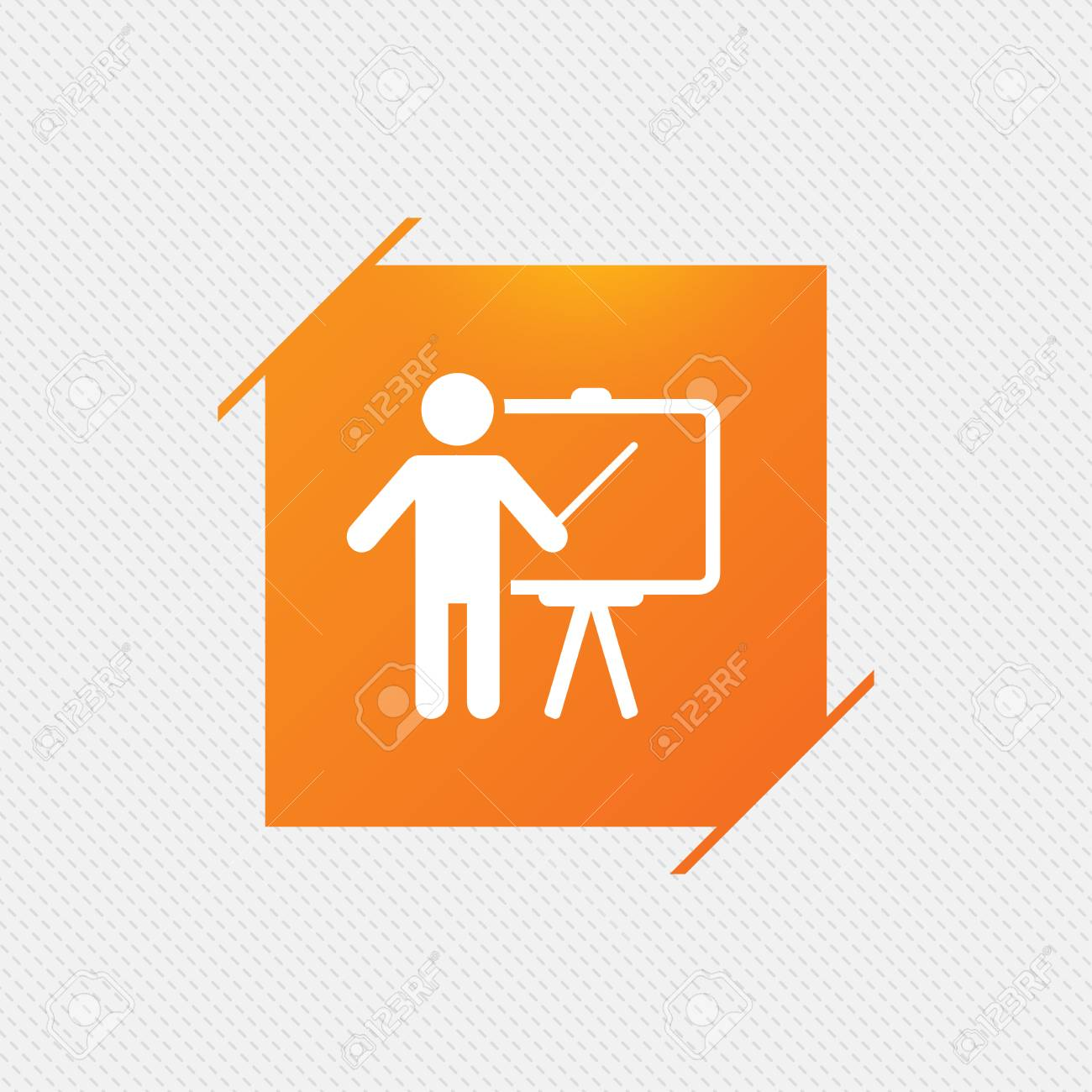 Presentation sign icon man standing with pointer blank empty presentation sign icon man standing with pointer blank empty billboard symbol orange square buycottarizona Gallery