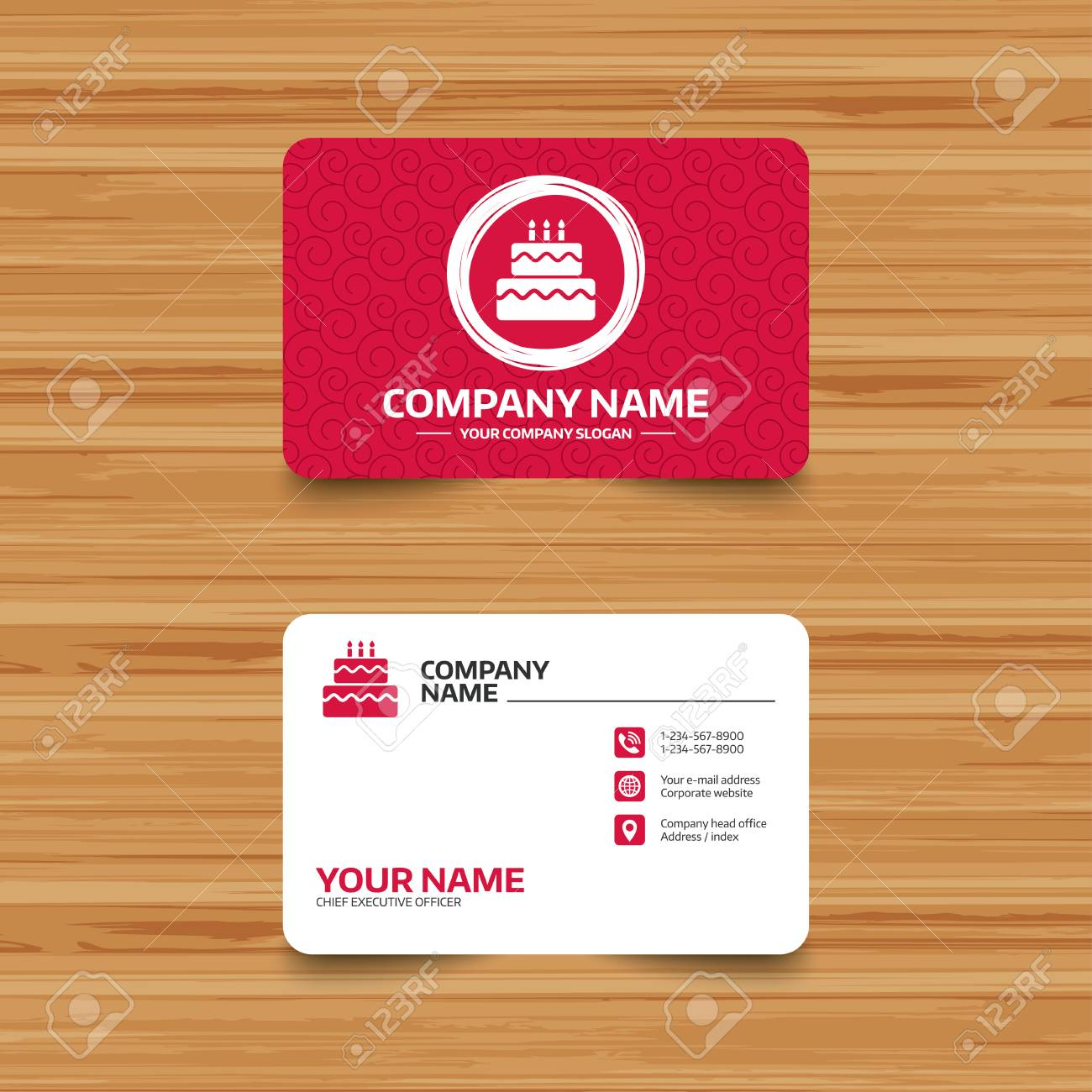 Business Card Template With Texture Birthday Cake Sign Icon - Cake business card template