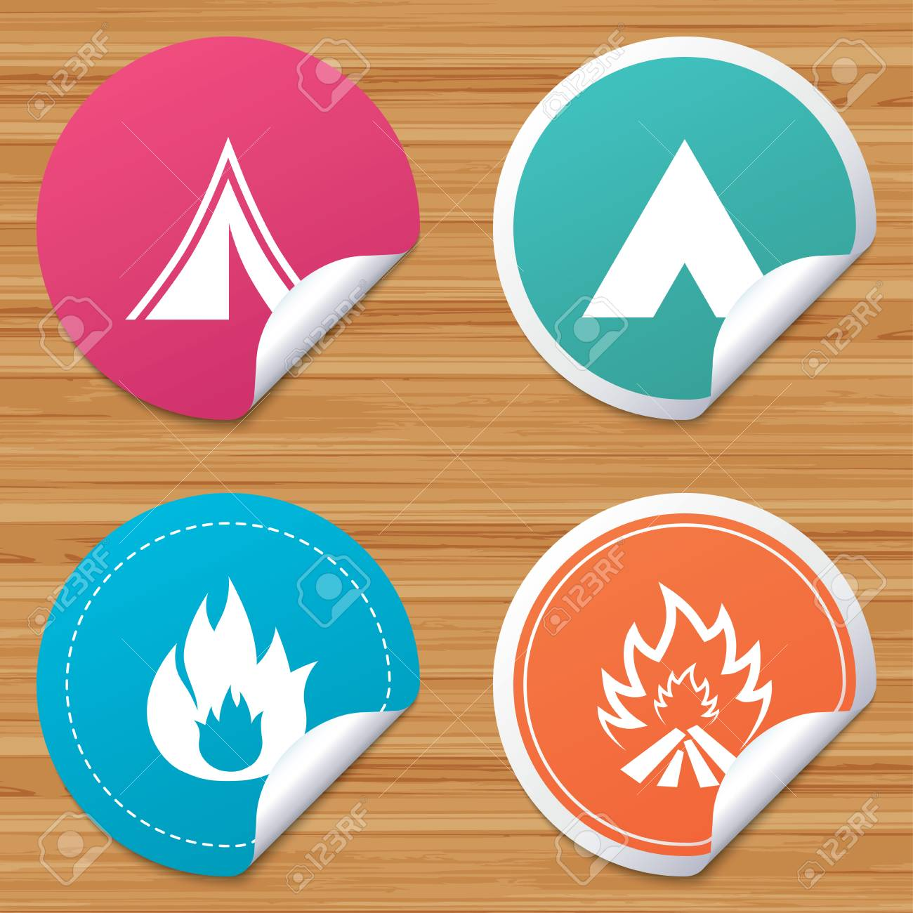 Round stickers or website banners  Tourist camping tent icons