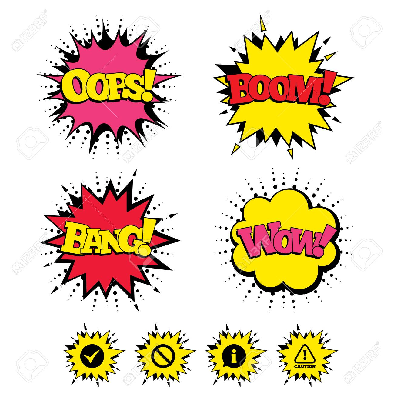 Comic Boom, Wow, Oops sound effects  Information icons  Stop