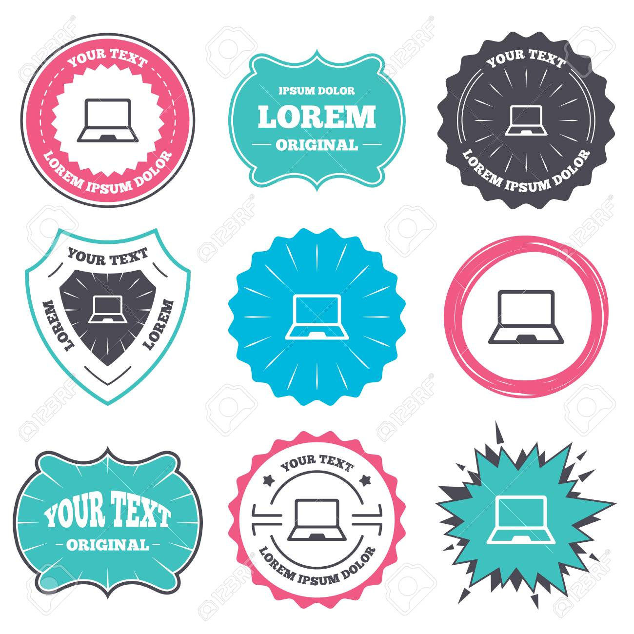 label and badge templates laptop sign icon notebook pc symbol