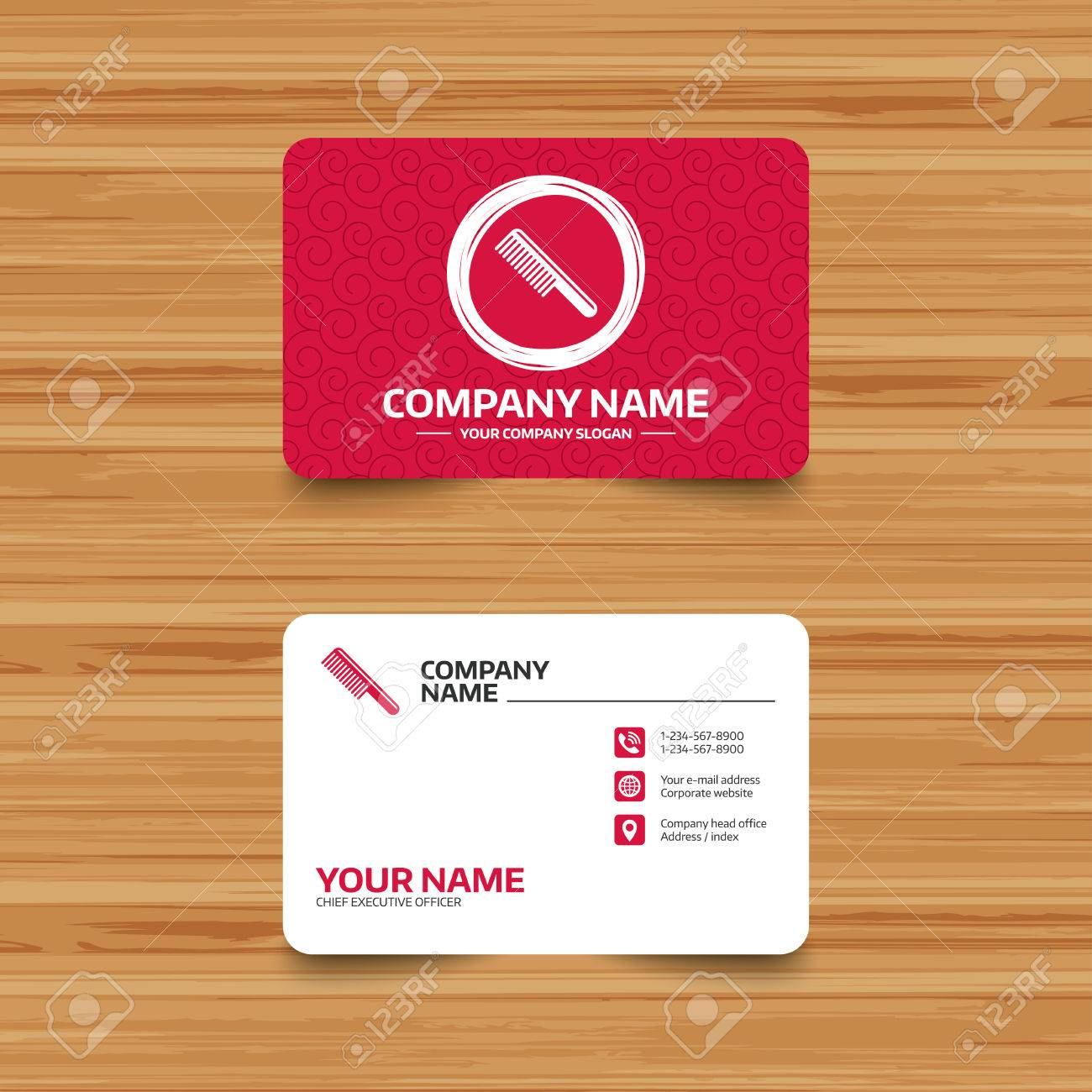 Business Card Template With Texture. Comb Hair Sign Icon. Barber ...