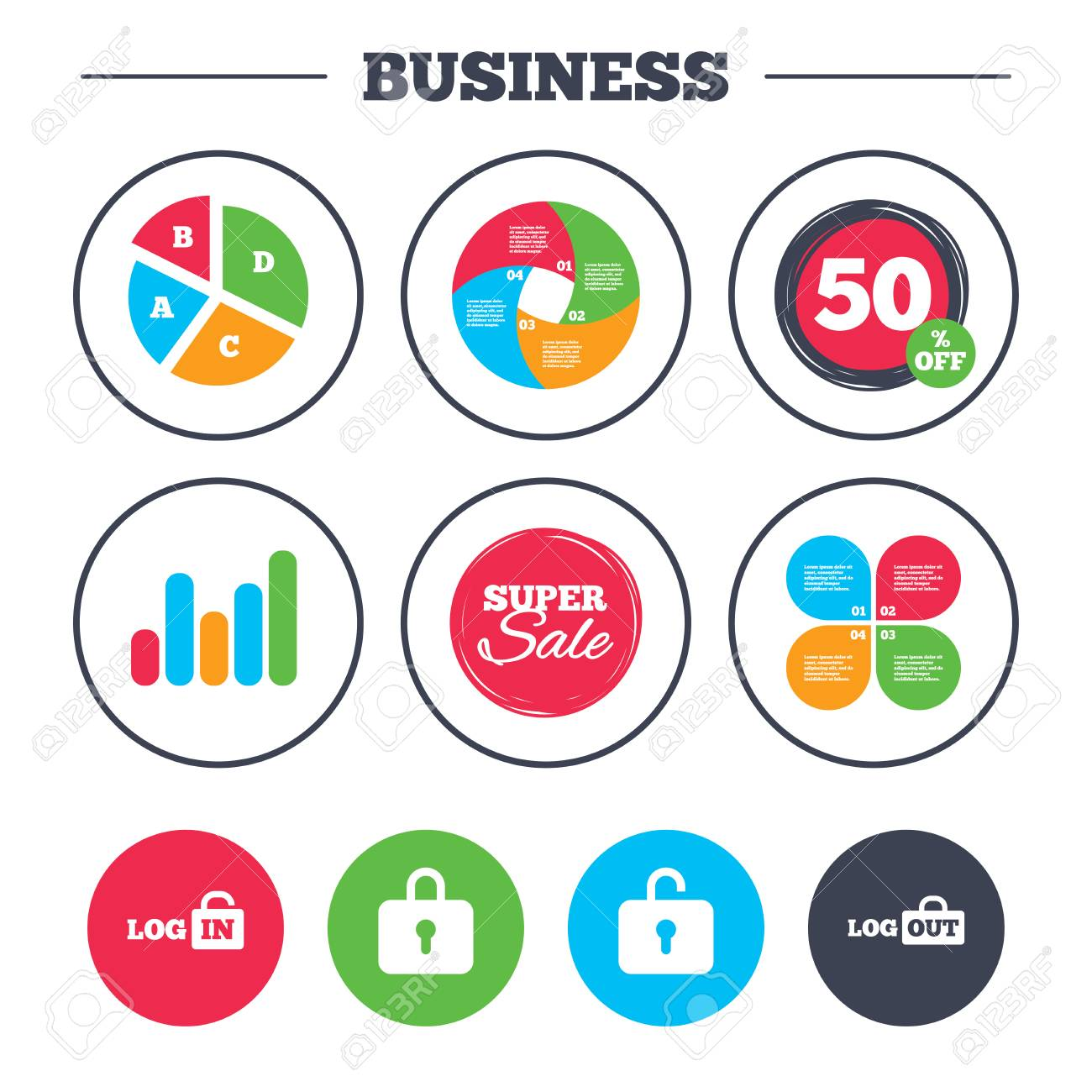 Business Pie Chart Growth Graph Login And Logout Icons Sign Royalty Free Cliparts Vectors And Stock Illustration Image 69398548