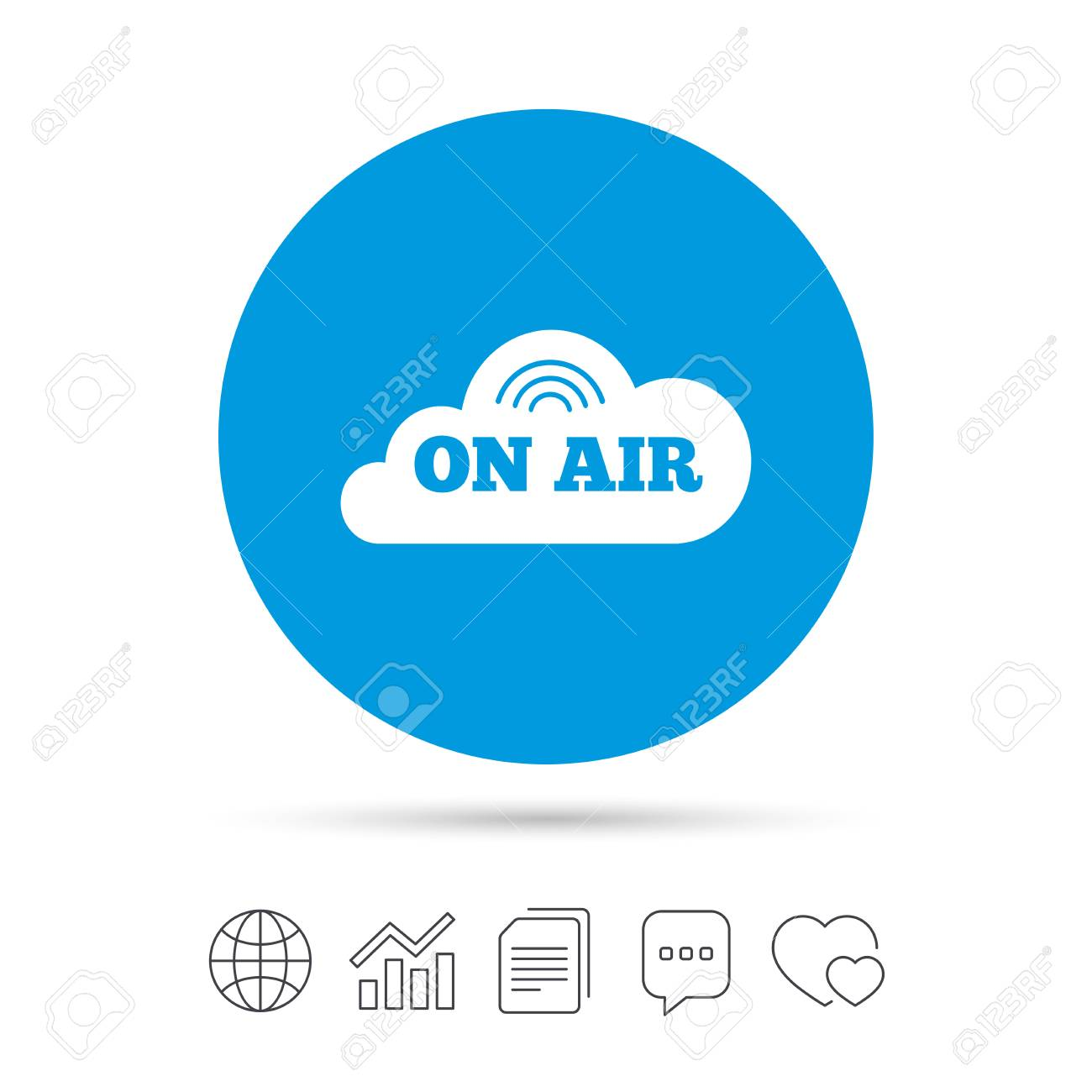 On Air Sign Icon Live Stream Symbol Copy Files Chat Speech
