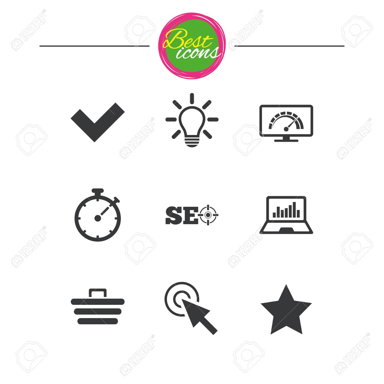 Internet Seo Icons Bandwidth Speed Online Shopping And Tick