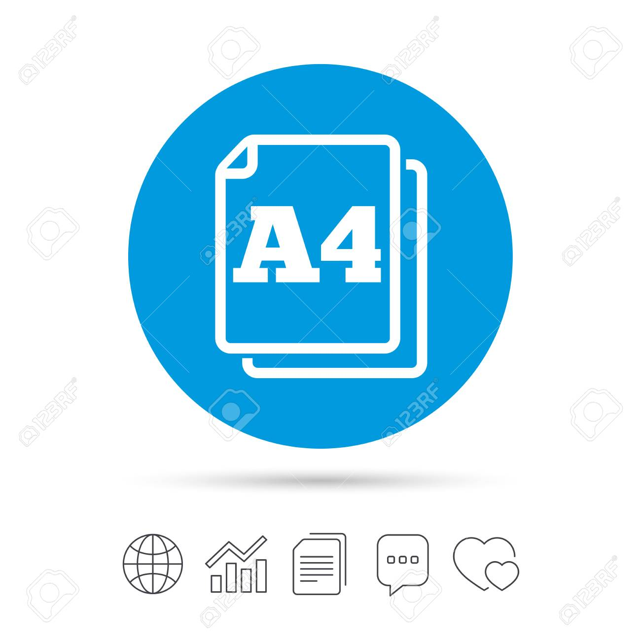 Paper size A4 standard icon  File document symbol  Copy files,