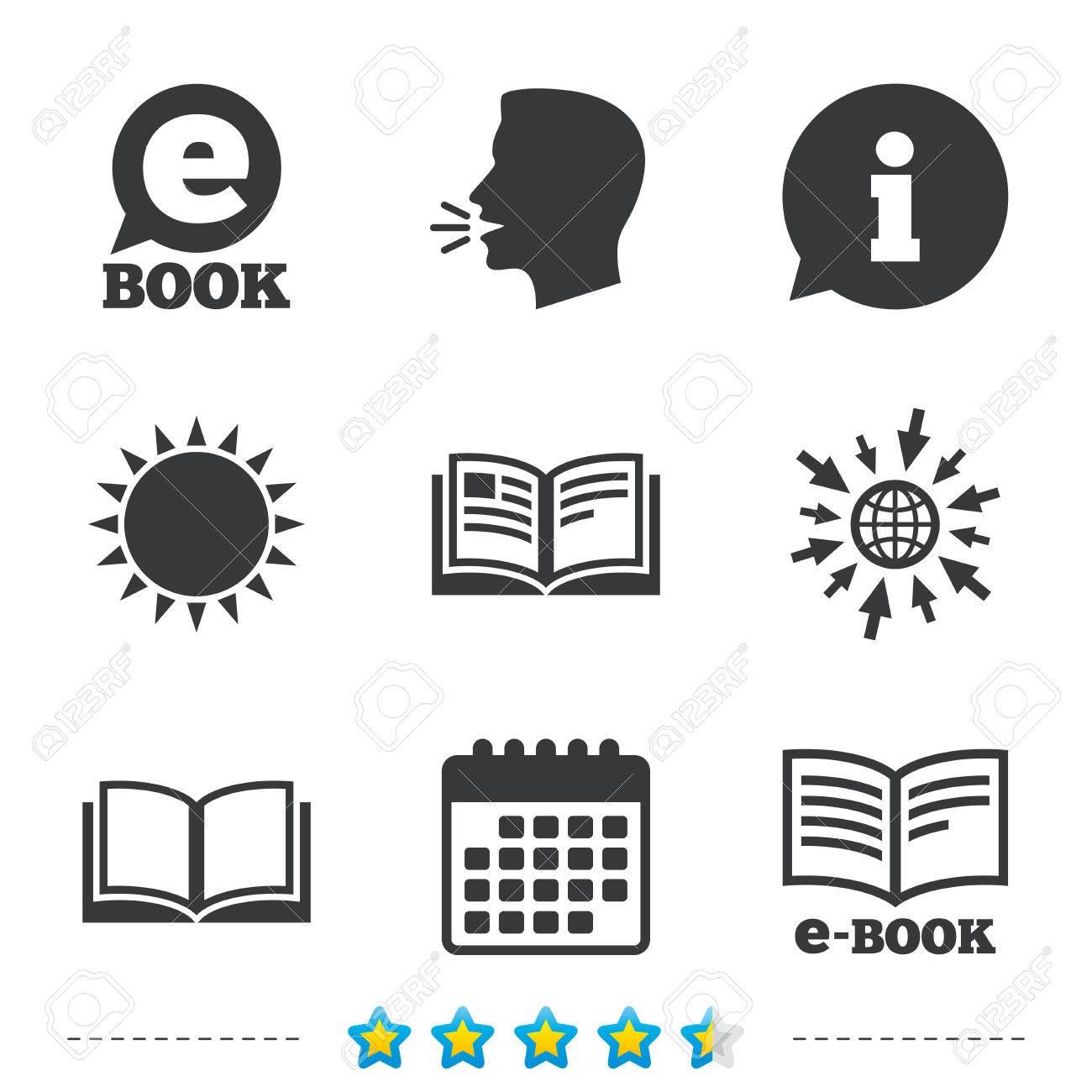 Electronic Book Icons. E-Book Symbols. Speech Bubble Sign ...