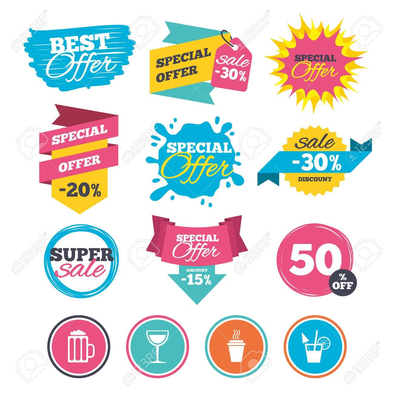 Verkauf Banner, Online-Web-Shopping. Getränke Symbole. Nehmen Sie ...