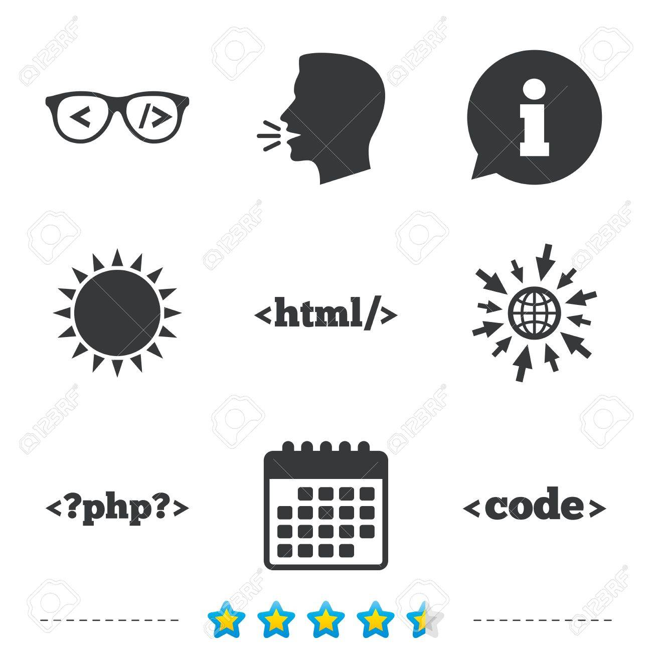 Programmer Coder Glasses Icon Html Markup Language And Php
