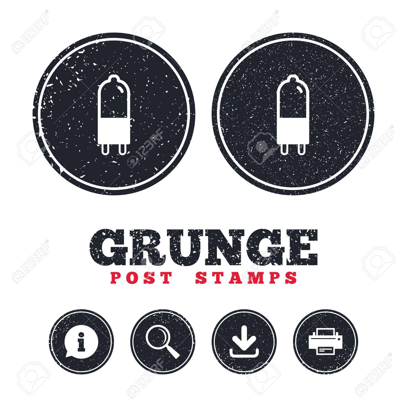 Grunge Post Stamps. Light Bulb Icon. Lamp G9 Socket Symbol. Led ...