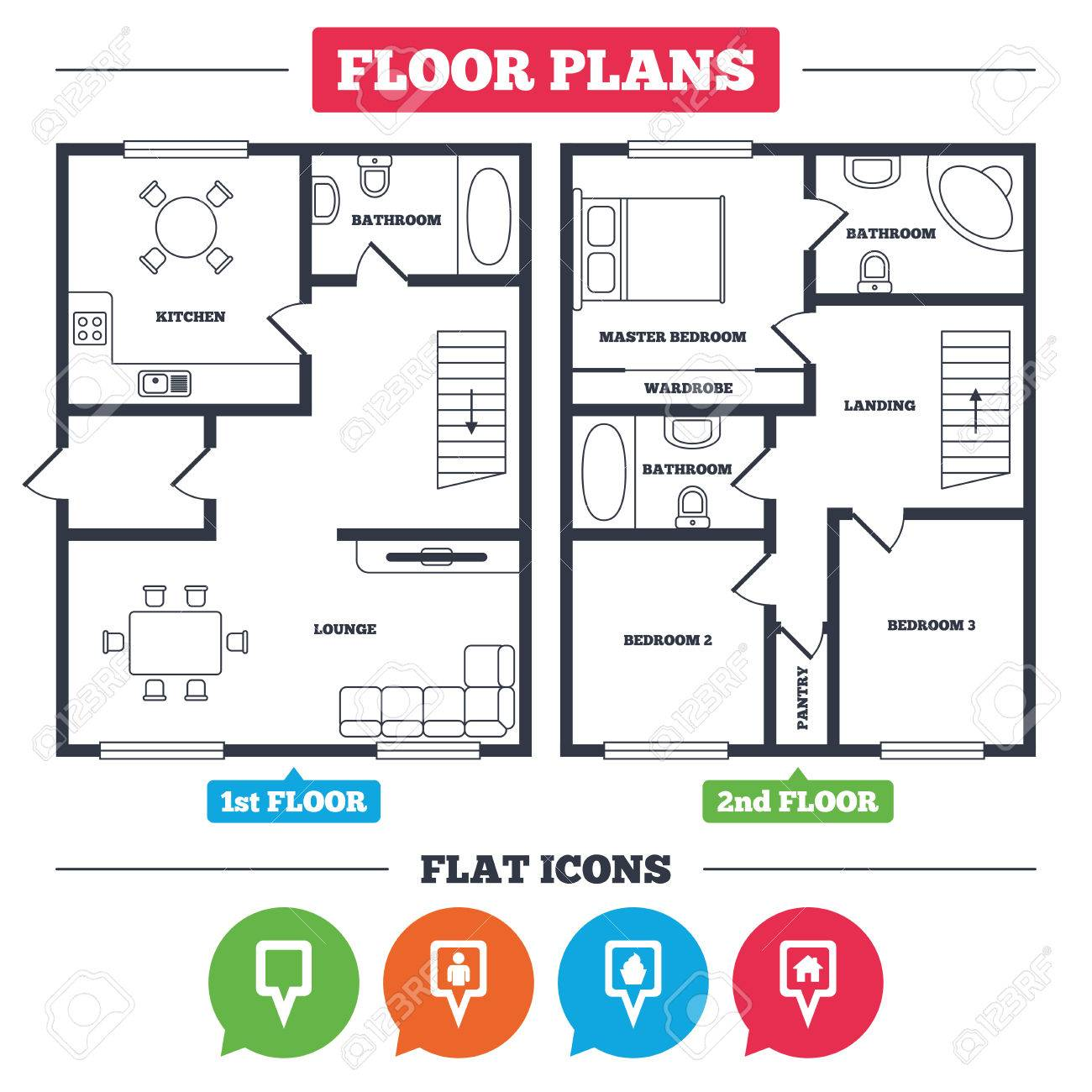 Architecture Plan With Furniture House Floor Map Square Pointer Icons Home