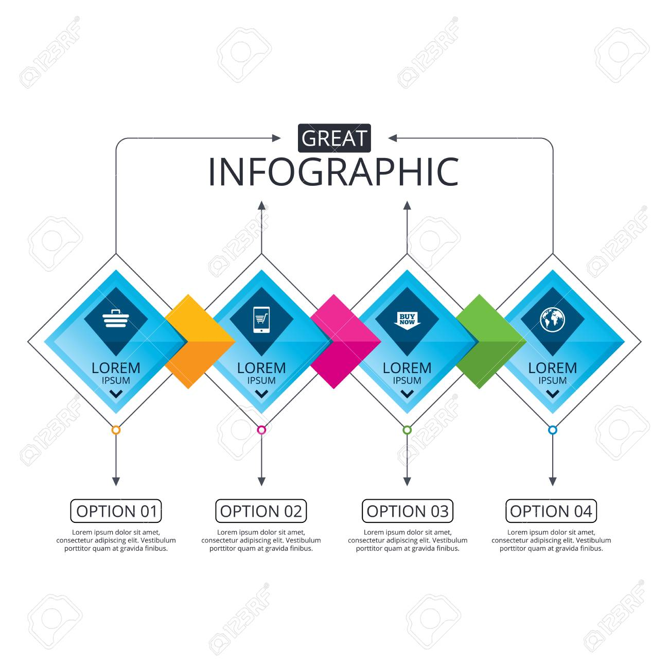 Infographic flowchart template business diagram with options infographic flowchart template business diagram with options online shopping icons smartphone shopping fbccfo Gallery