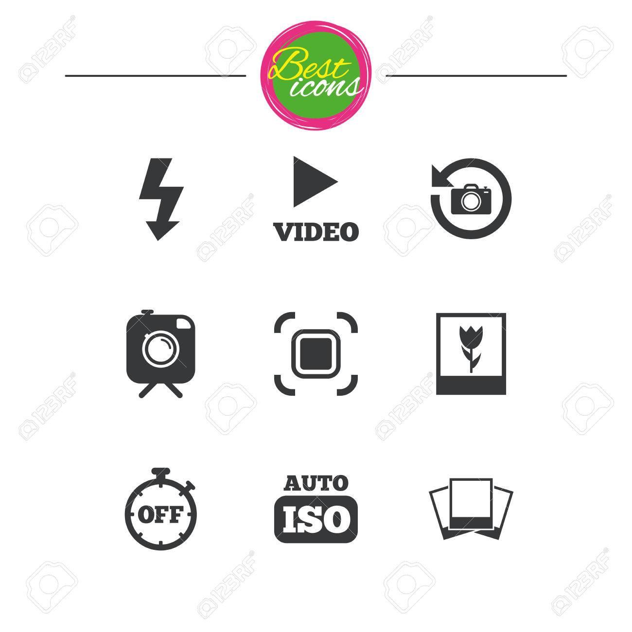 Foto, íconos De Video. Cámara, Fotos Y Carteles De Marcos. Flash ...