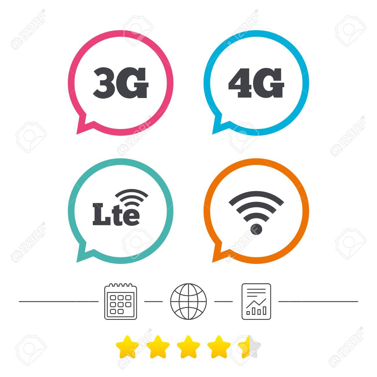 Iconos De Telecomunicaciones Móviles. 3G, 4G LTE Y Tecnología ...