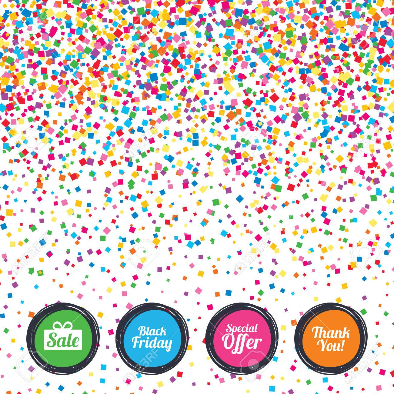 web buttons on background of confetti sale icons special offer