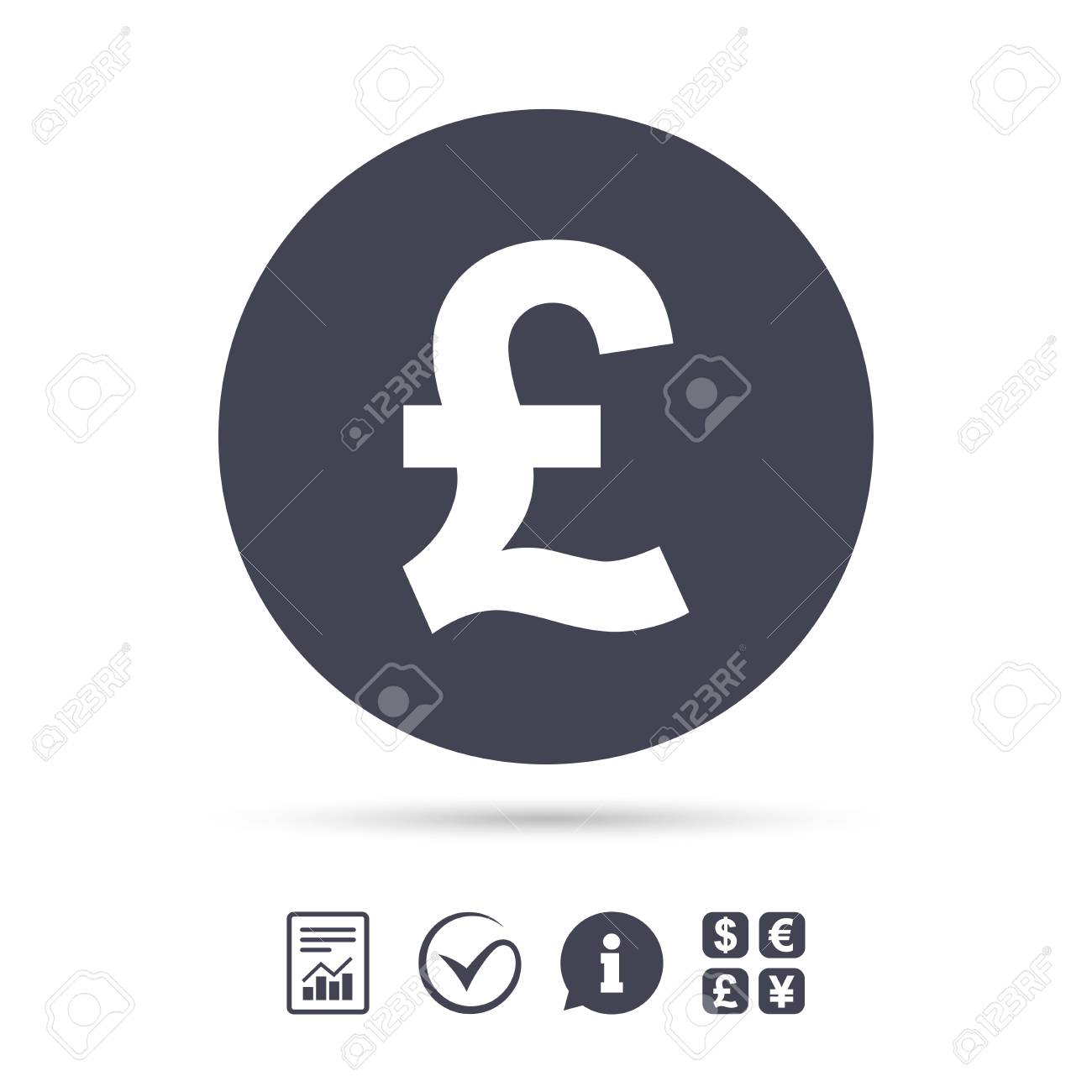 Pound Sign Icon Gbp Currency Symbol Money Label Report Document