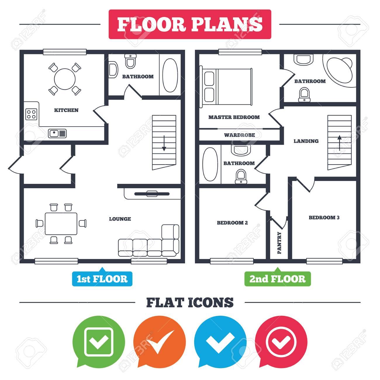 Plan De Arquitectura Con Muebles. Plano De La Casa Verificar Iconos ...
