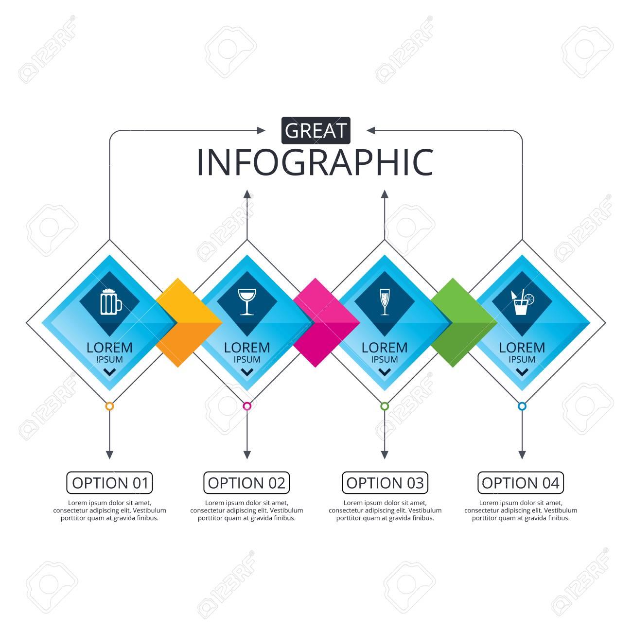 Plantilla de diagrama de flujo de infografa diagrama de negocios plantilla de diagrama de flujo de infografa diagrama de negocios con opciones iconos de bebidas alcohlicas champagne vino espumoso con burbujas y ccuart Gallery