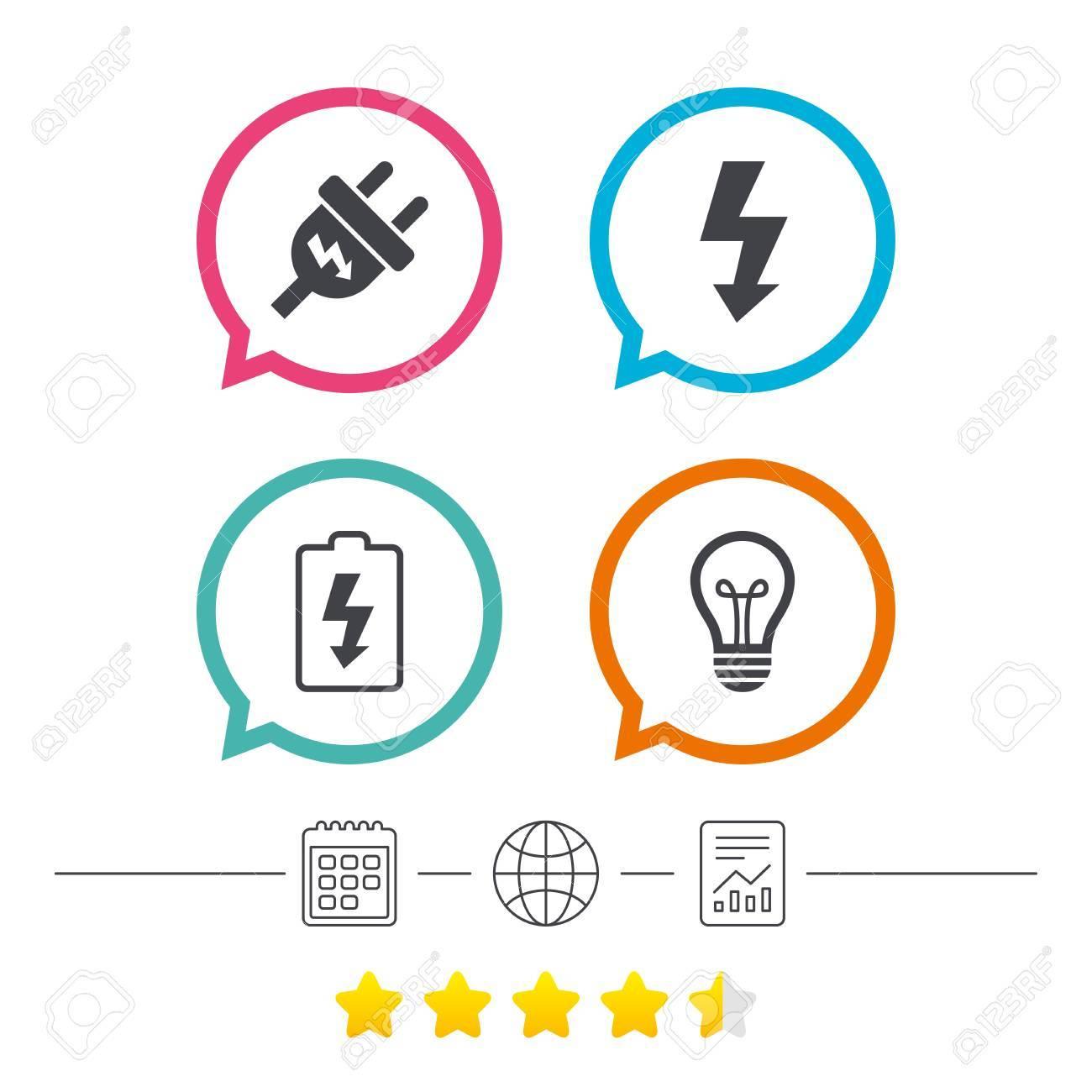 Elektrisches Stecker-Symbol. Lampen- Und Batteriesymbole. Niedrige ...