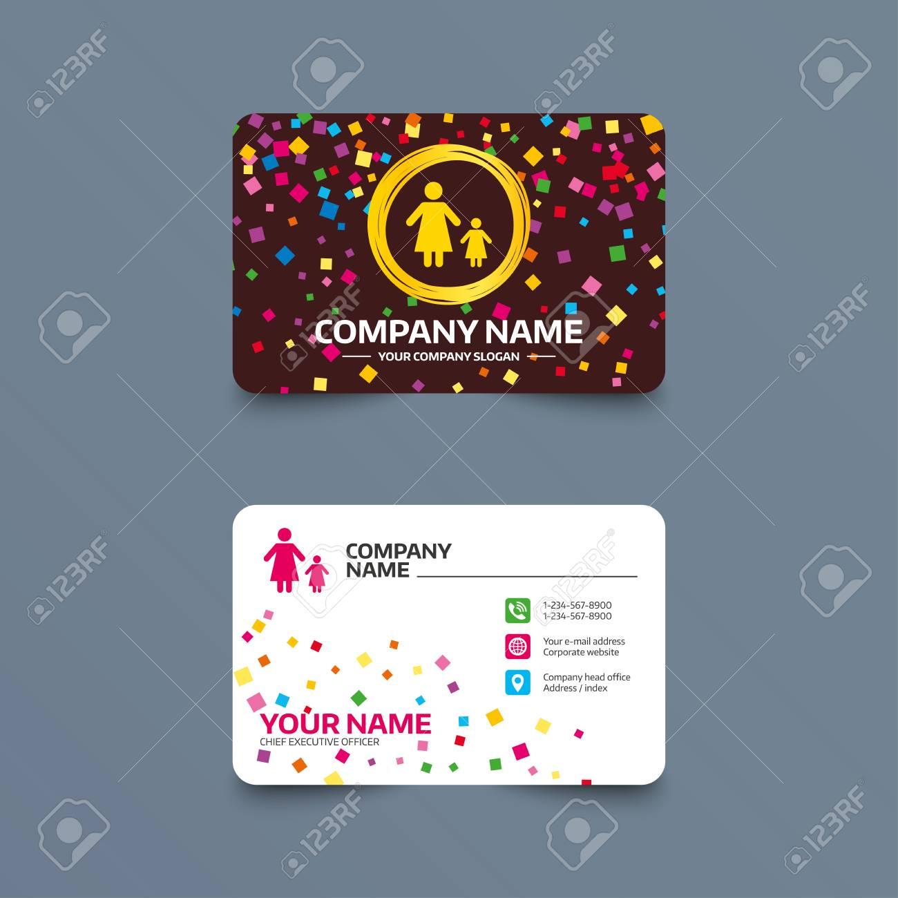 Modle De Carte Visite Avec Des Morceaux Confettis Famille Monoparentale Un Icne Signe Enfant Mre Le Symbole La Fille