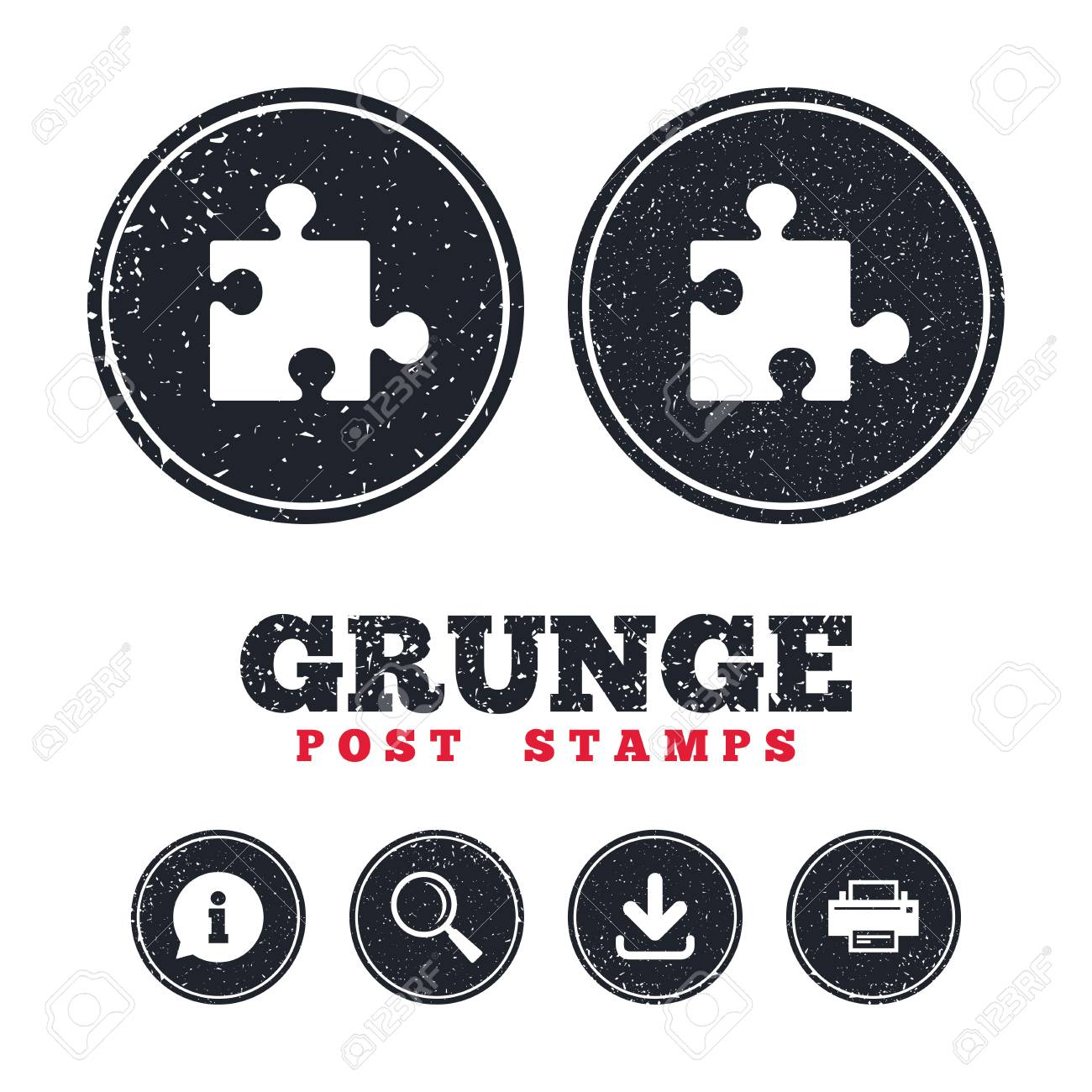Grunge Post Stamps. Puzzle Piece Sign Icon. Strategy Symbol ...