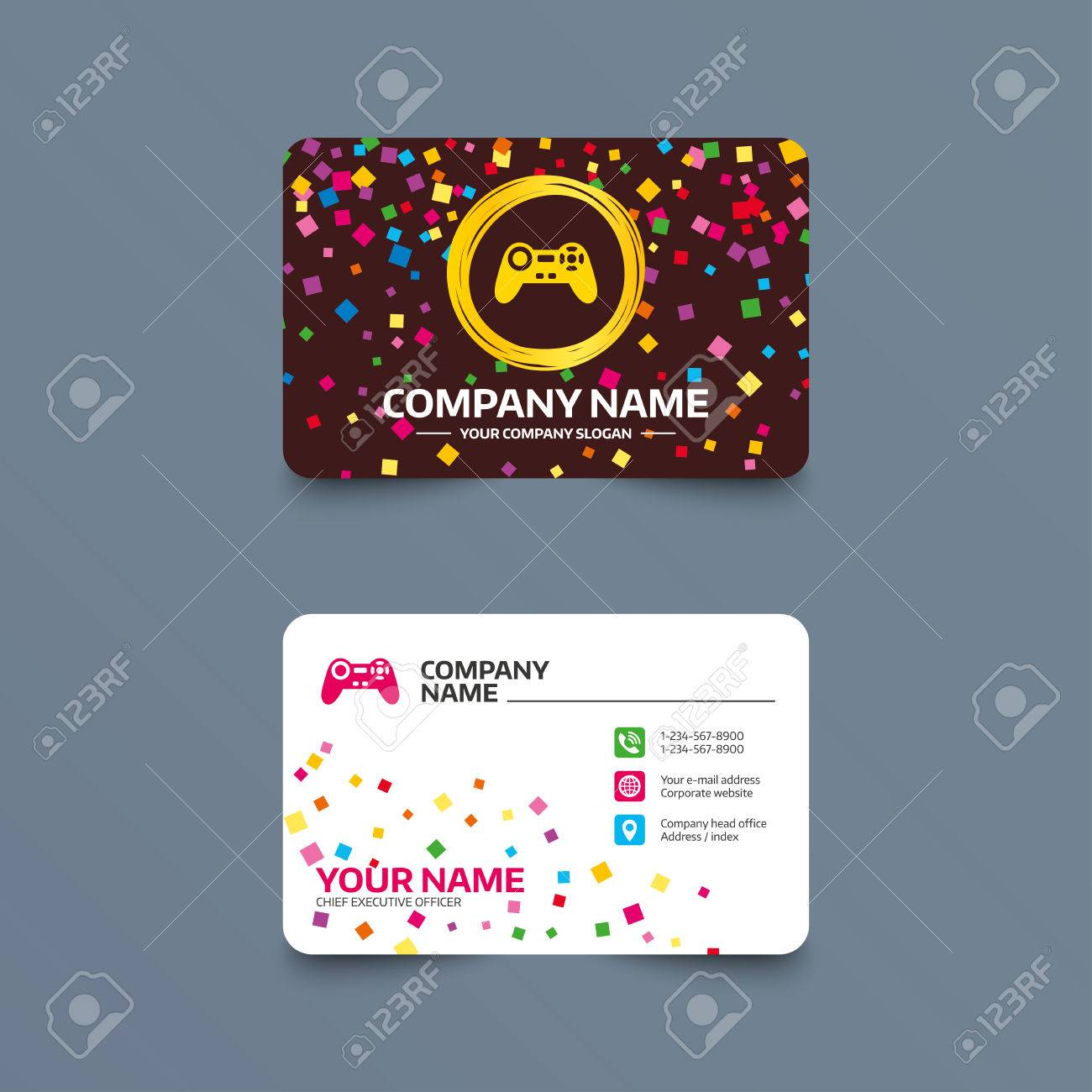 business card template with confetti pieces joystick sign icon