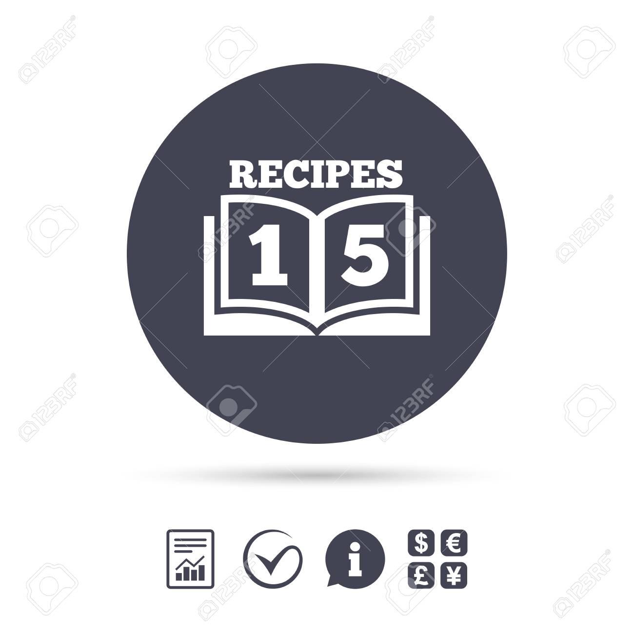 Cookbook sign icon. 15 Recipes book symbol. Report document,..
