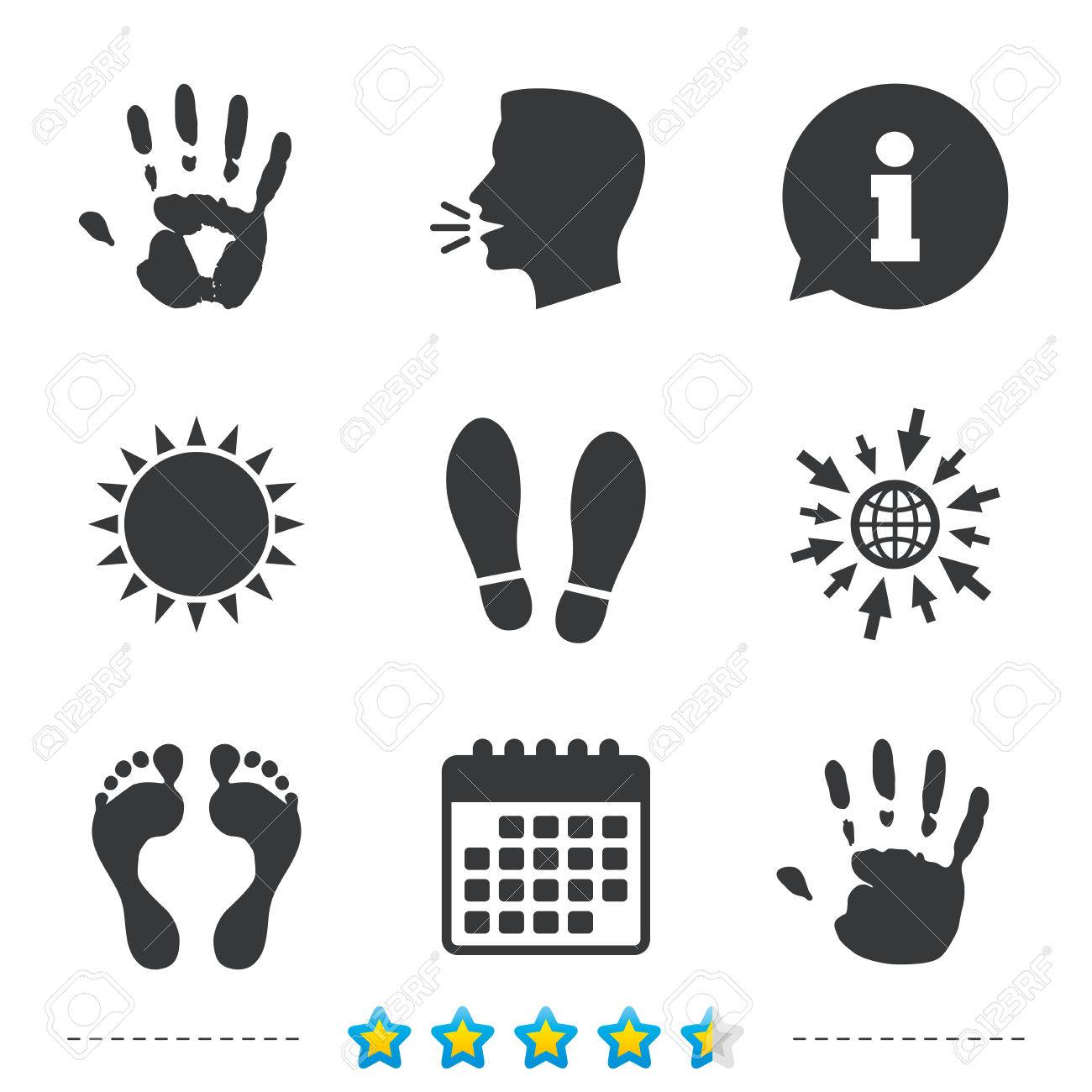 07f617ac03fe25 Hand and foot print icons. Imprint shoes and barefoot symbols. Stop do not  enter