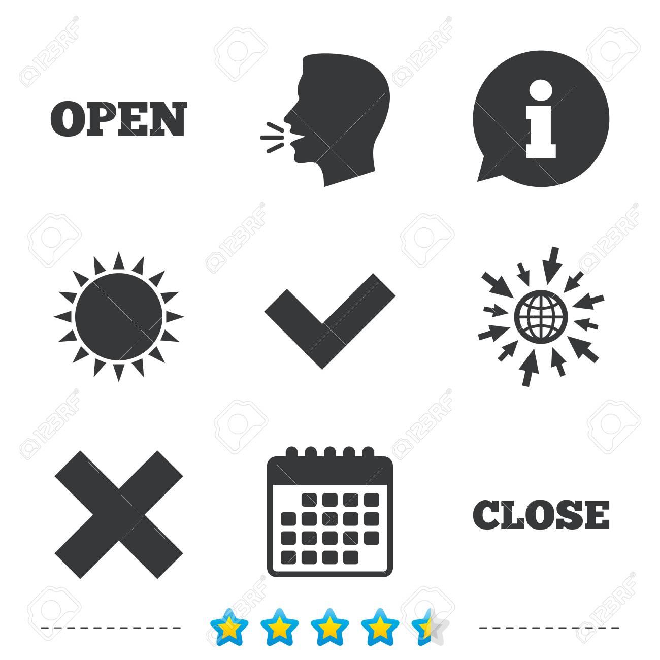 Apri Il Calendario.Apri E Chiudi Le Icone Seleziona O Seleziona Elimina I Segni Di Rimozione Si Correggere E Cancellare Il Simbolo Informazioni Vai A Icone Web E