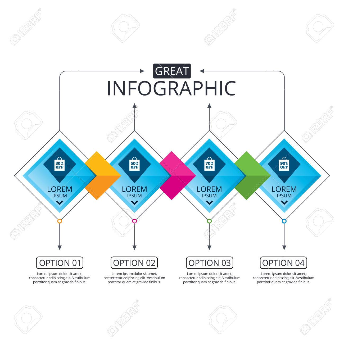 infographic flowchart template. business diagram with options
