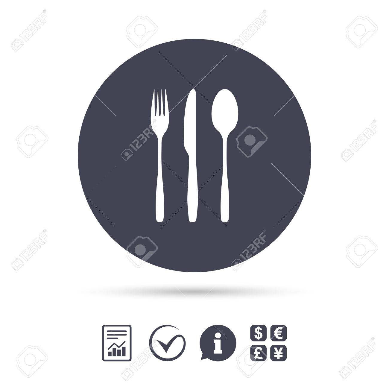 Fork Knife Tablespoon Sign Icon Cutlery Collection Set Symbol