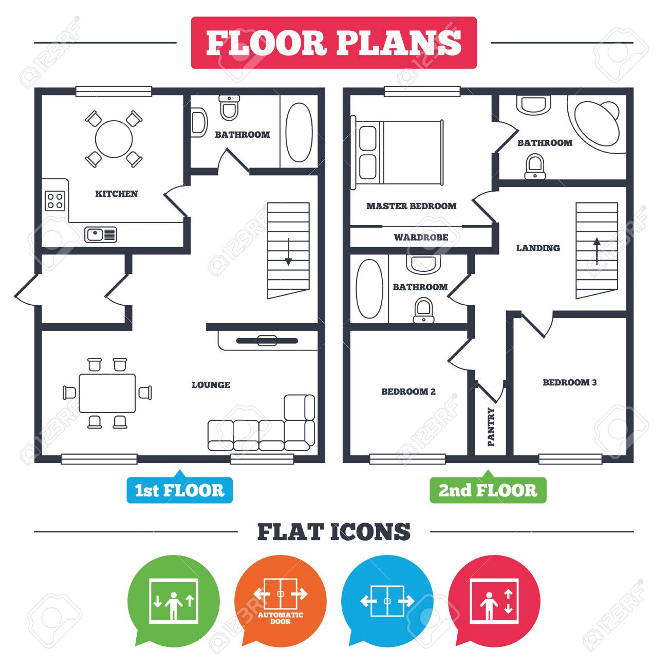 Architecture plan with furniture. House floor plan. Automatic door icons. Elevator symbols.  sc 1 st  123RF.com & Architecture Plan With Furniture. House Floor Plan. Automatic ...