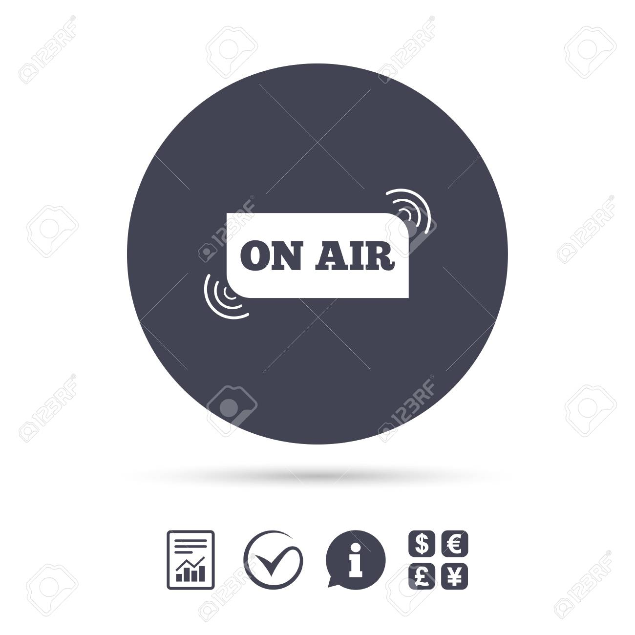 On Air Sign Icon Live Stream Symbol Report Document Information