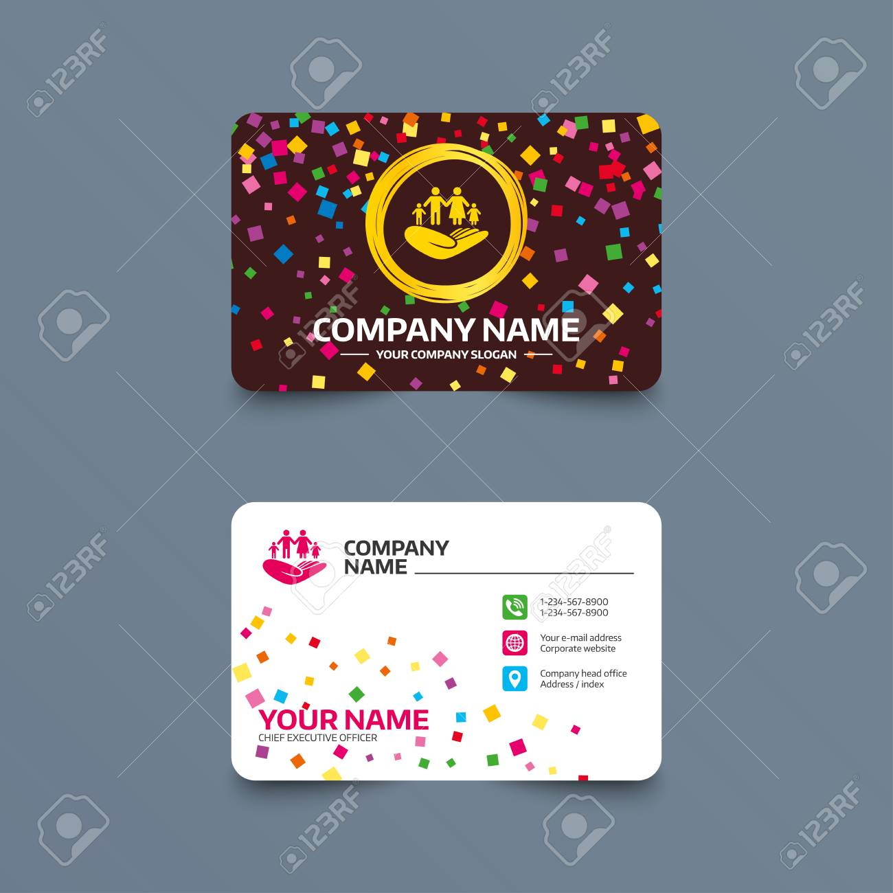 Business Card Template With Confetti Pieces. Family Life Insurance ...