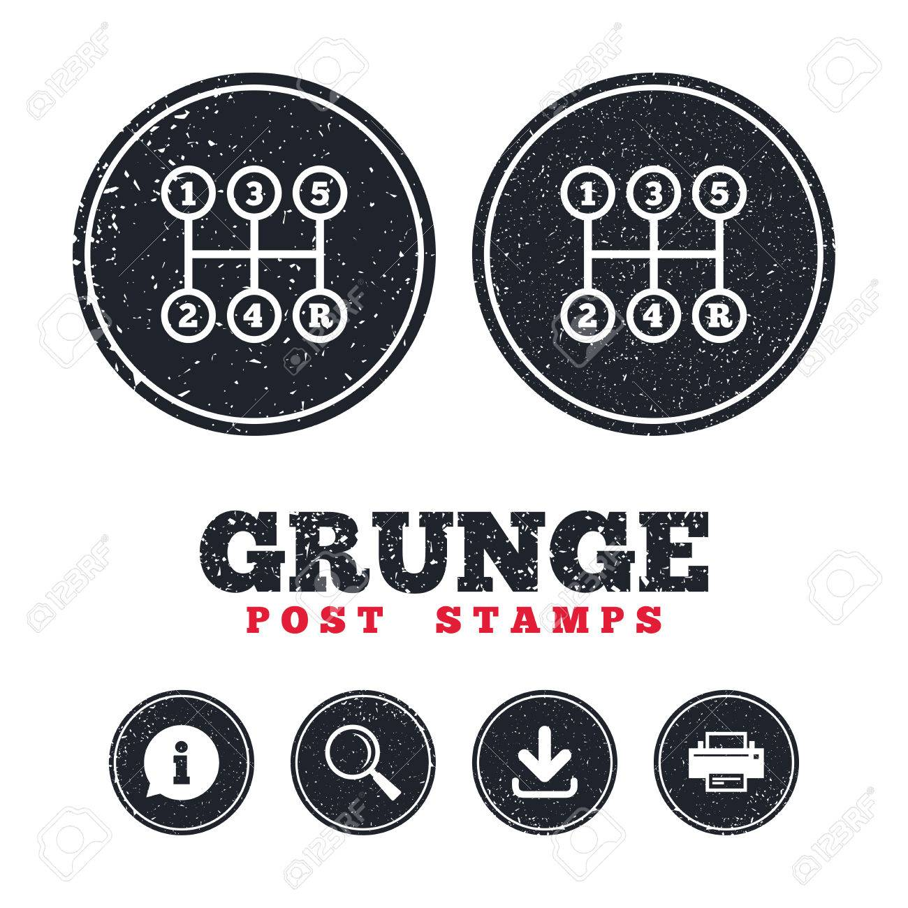 Grunge Post Stamps. Manual Transmission Sign Icon. Automobile ...