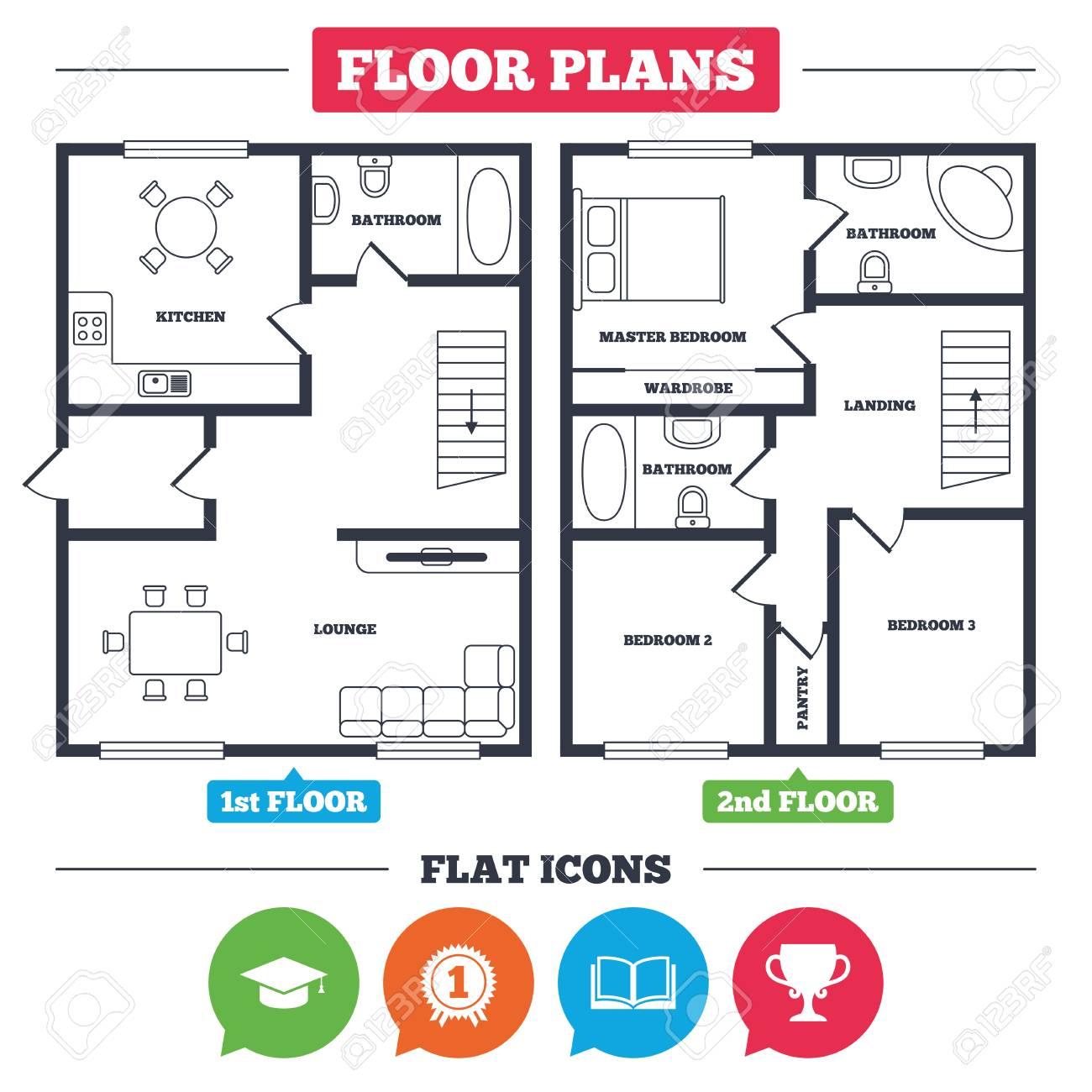 Plan De Arquitectura Con Muebles. Plano De La Casa Iconos De ...