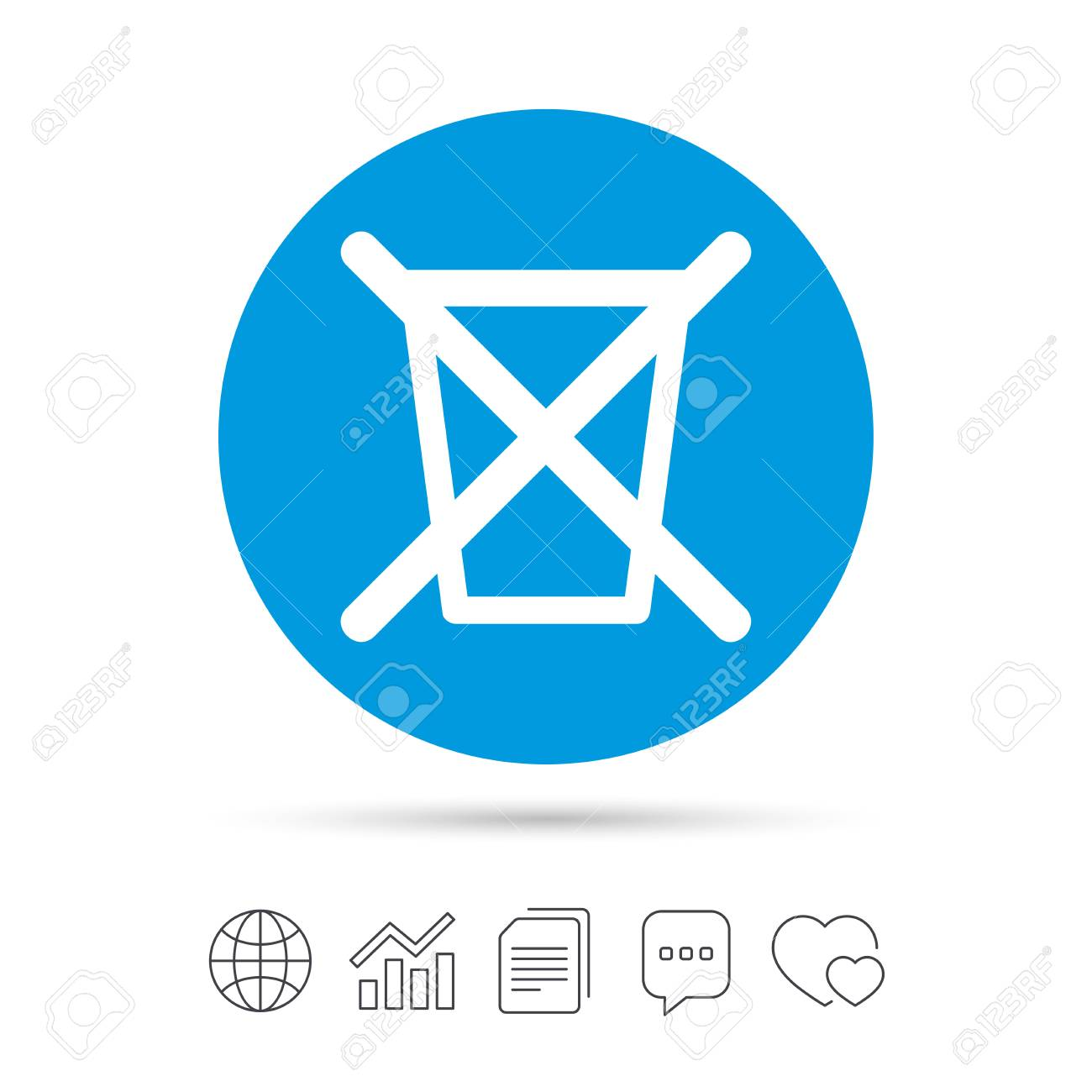 Do not throw in trash. Recycle bin sign icon. Copy files, chat speech bubble and chart web icons. Vector - 72644360