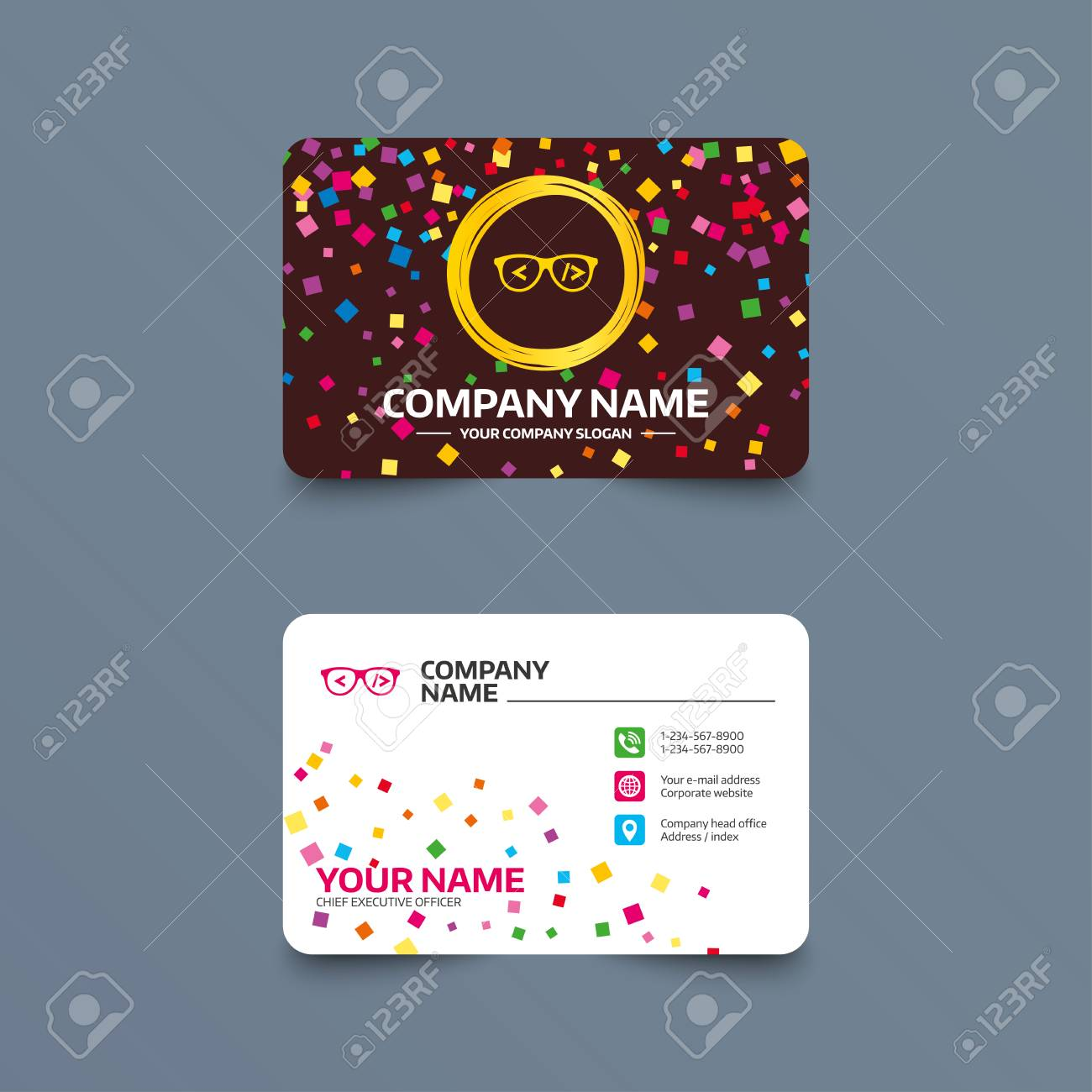 business card template with confetti pieces coder sign icon