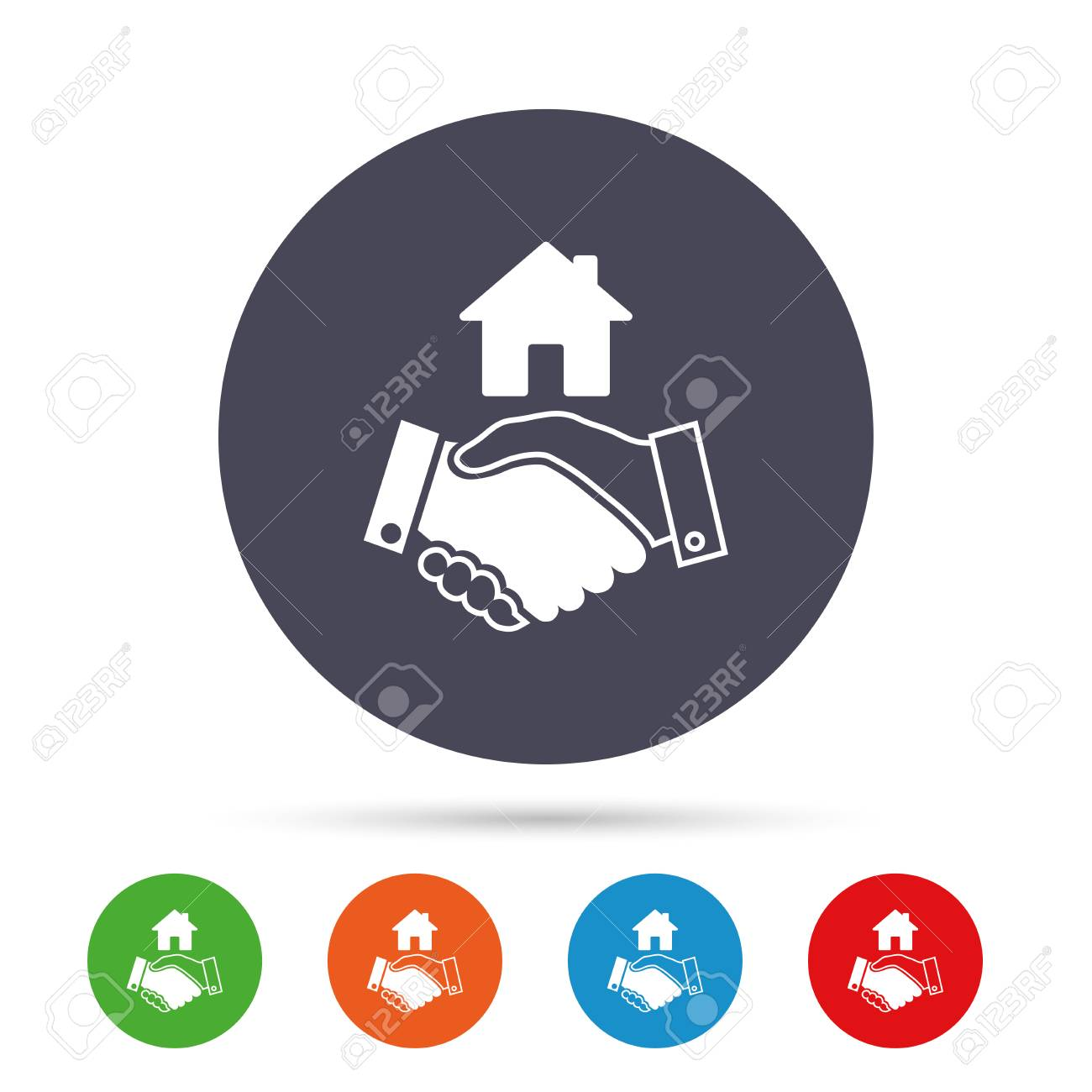 Home handshake sign icon successful business with house building home handshake sign icon successful business with house building symbol round colourful buttons with biocorpaavc Image collections