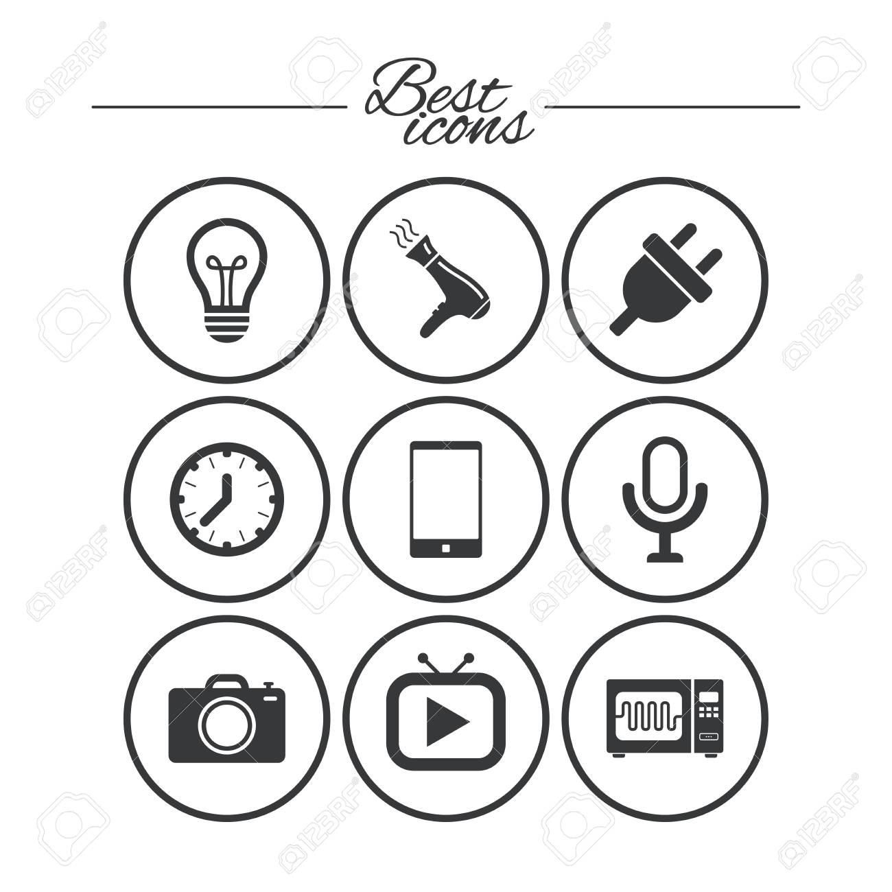 Home Appliances Device Icons Electronics Signs Lamp Electrical