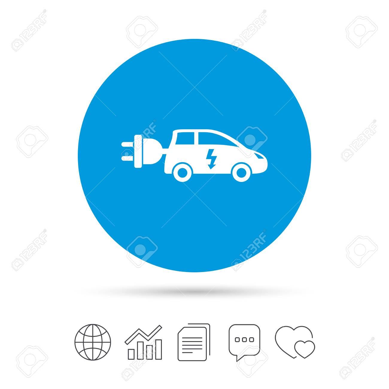 Elektro-Auto-Zeichen-Symbol. Fließheck-Symbol. Elektrofahrzeuge ...