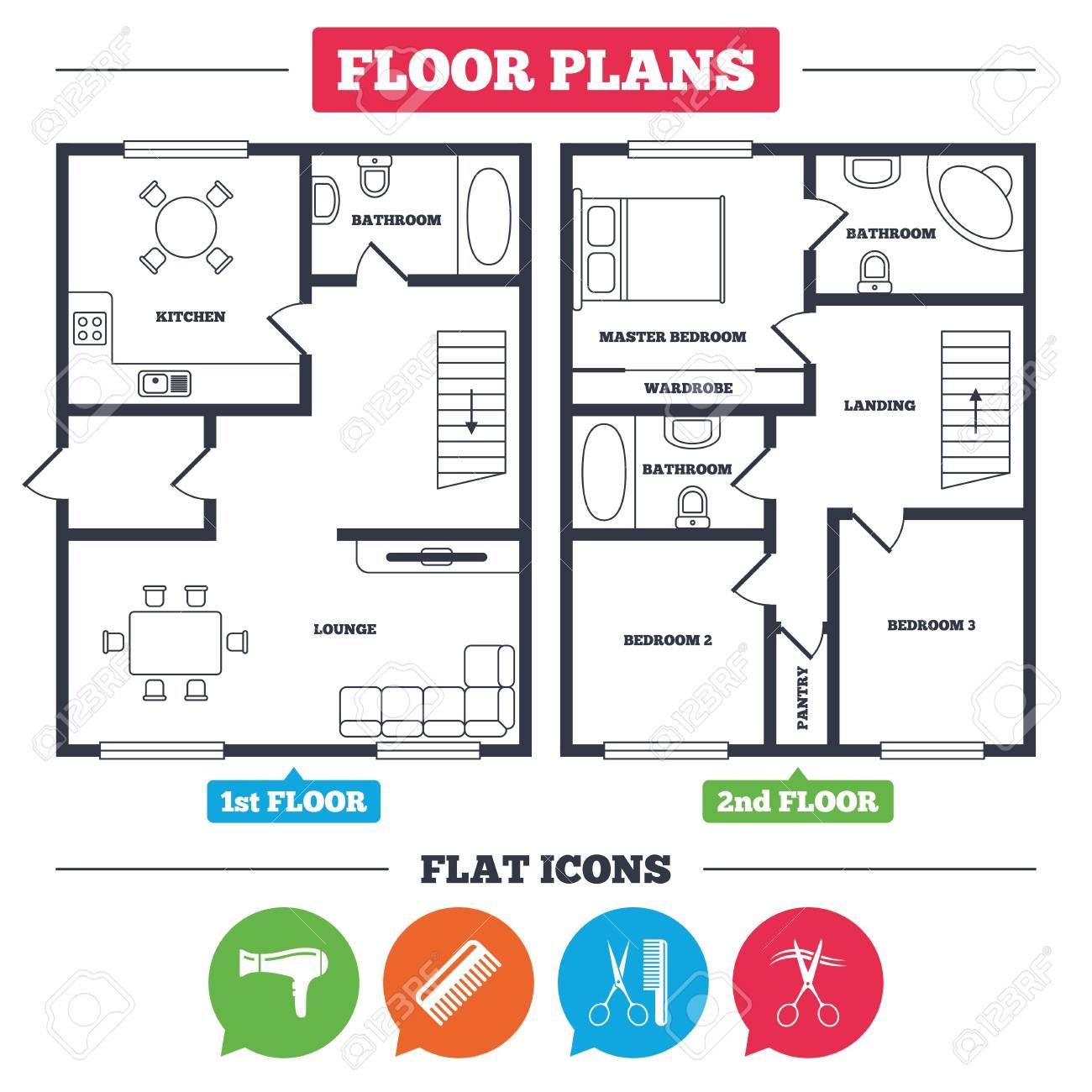 architecture plan with furniture house floor plan hairdresser