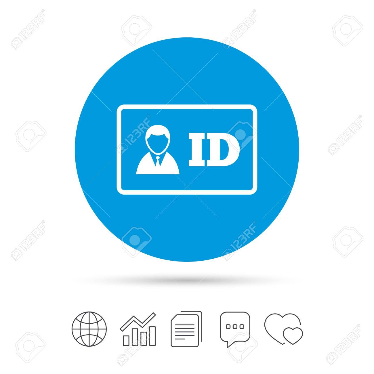 id card sign icon identity card badge symbol copy files chat