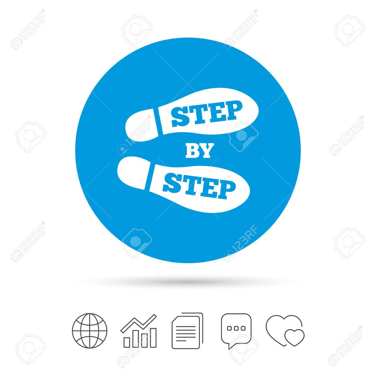 3c91d8777c8984 ... web icons. Vector. Step by step sign icon. Footprint shoes symbol. Copy  files