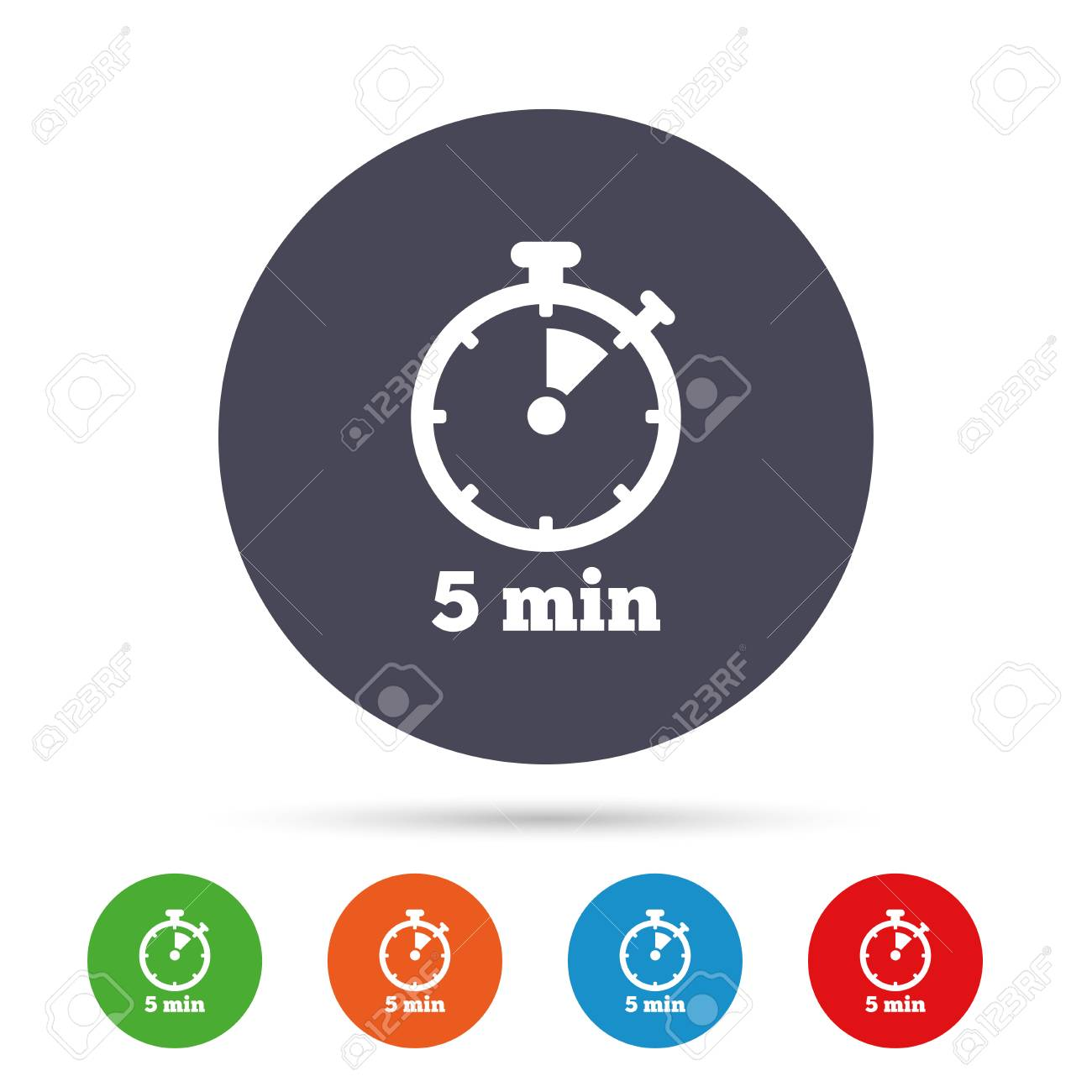 timer sign icon 5 minutes stopwatch symbol round colourful